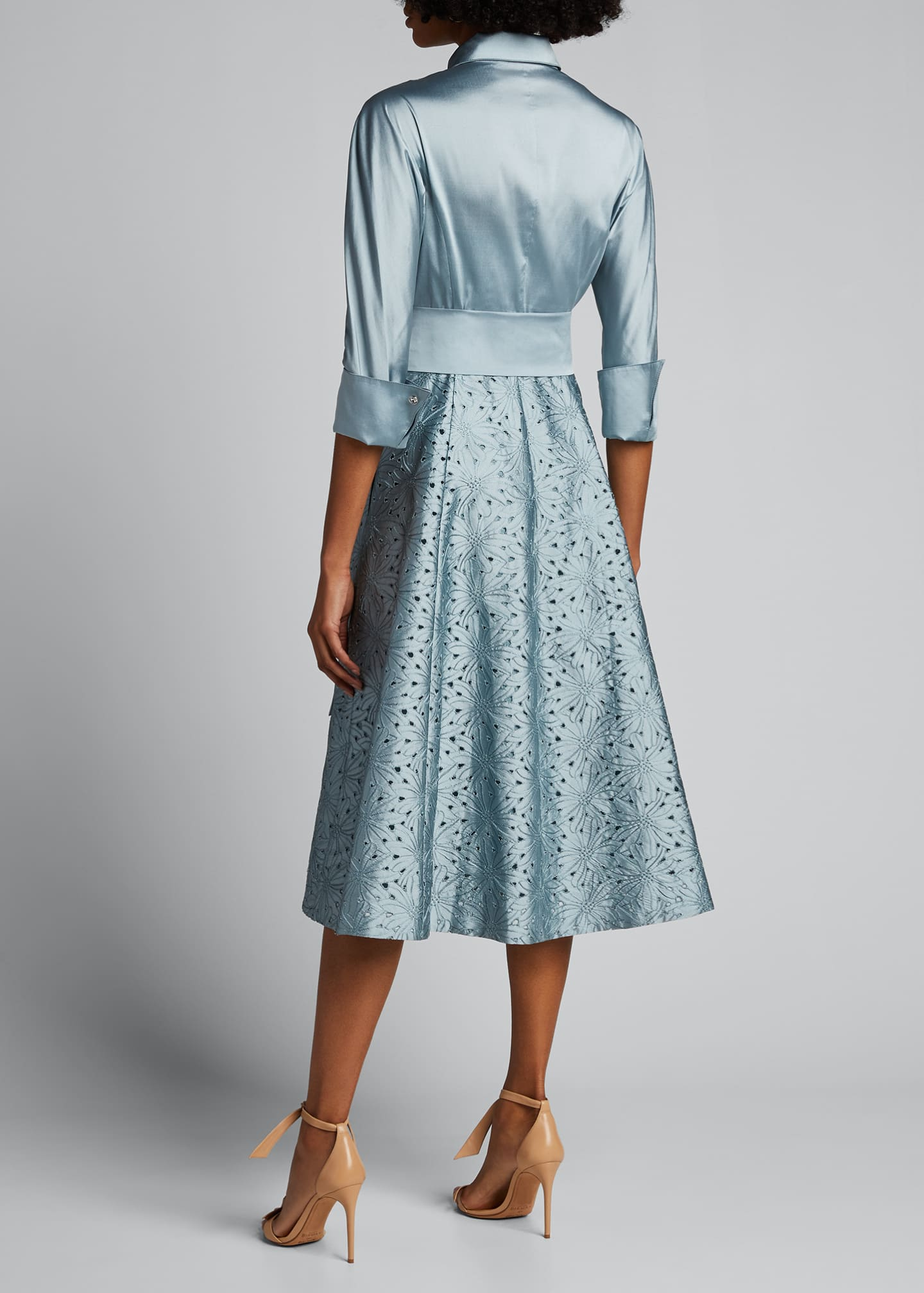 Image 2 of 5: Taffeta Shirt Dress w/ Eyelet Skirt