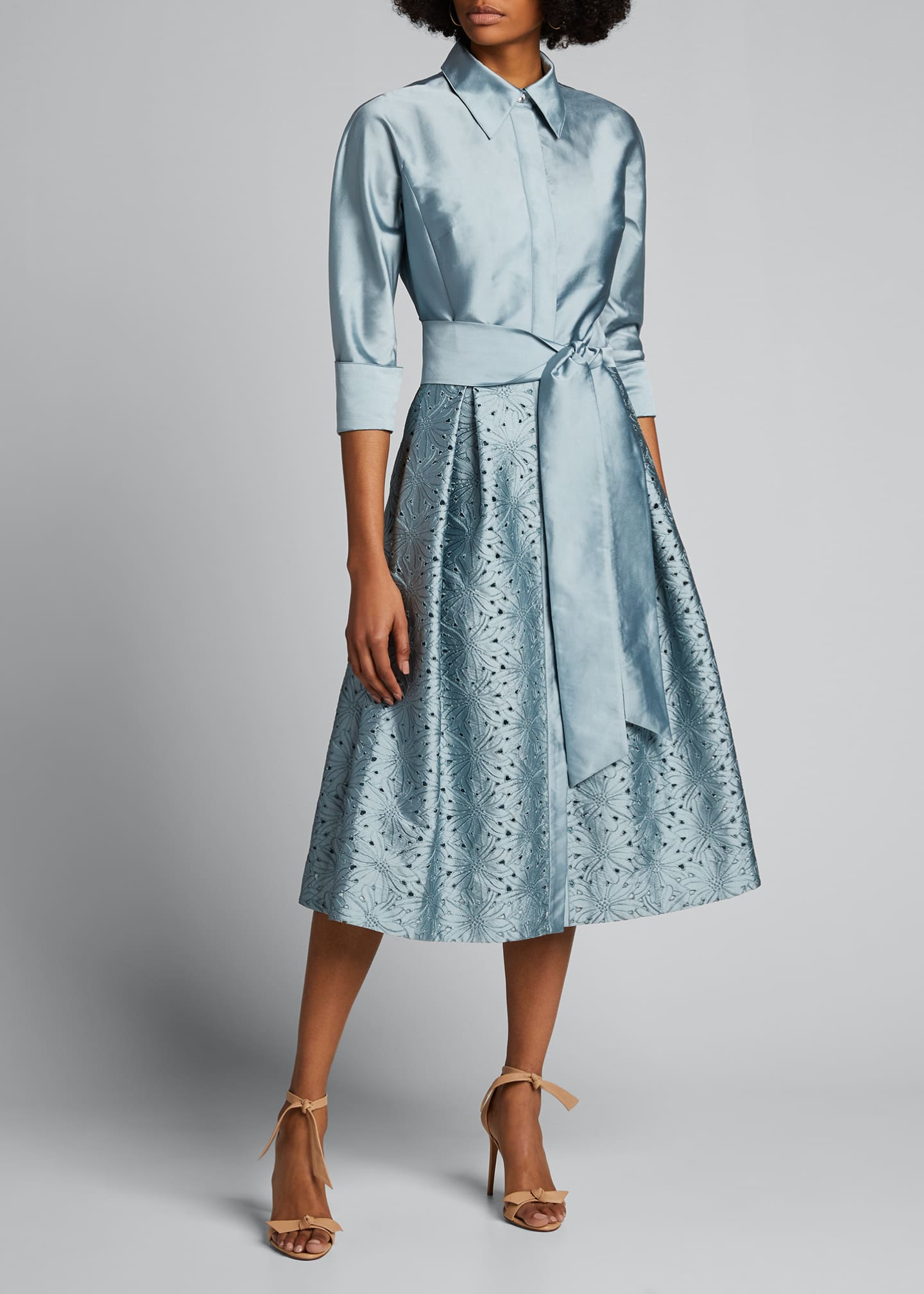 Image 3 of 5: Taffeta Shirt Dress w/ Eyelet Skirt