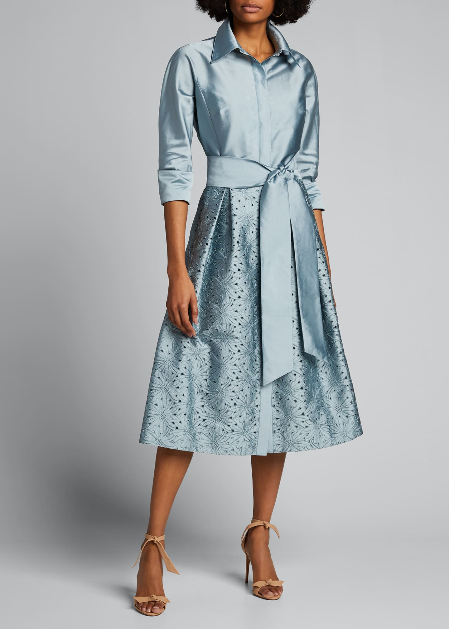Image 1 of 5: Taffeta Shirt Dress w/ Eyelet Skirt