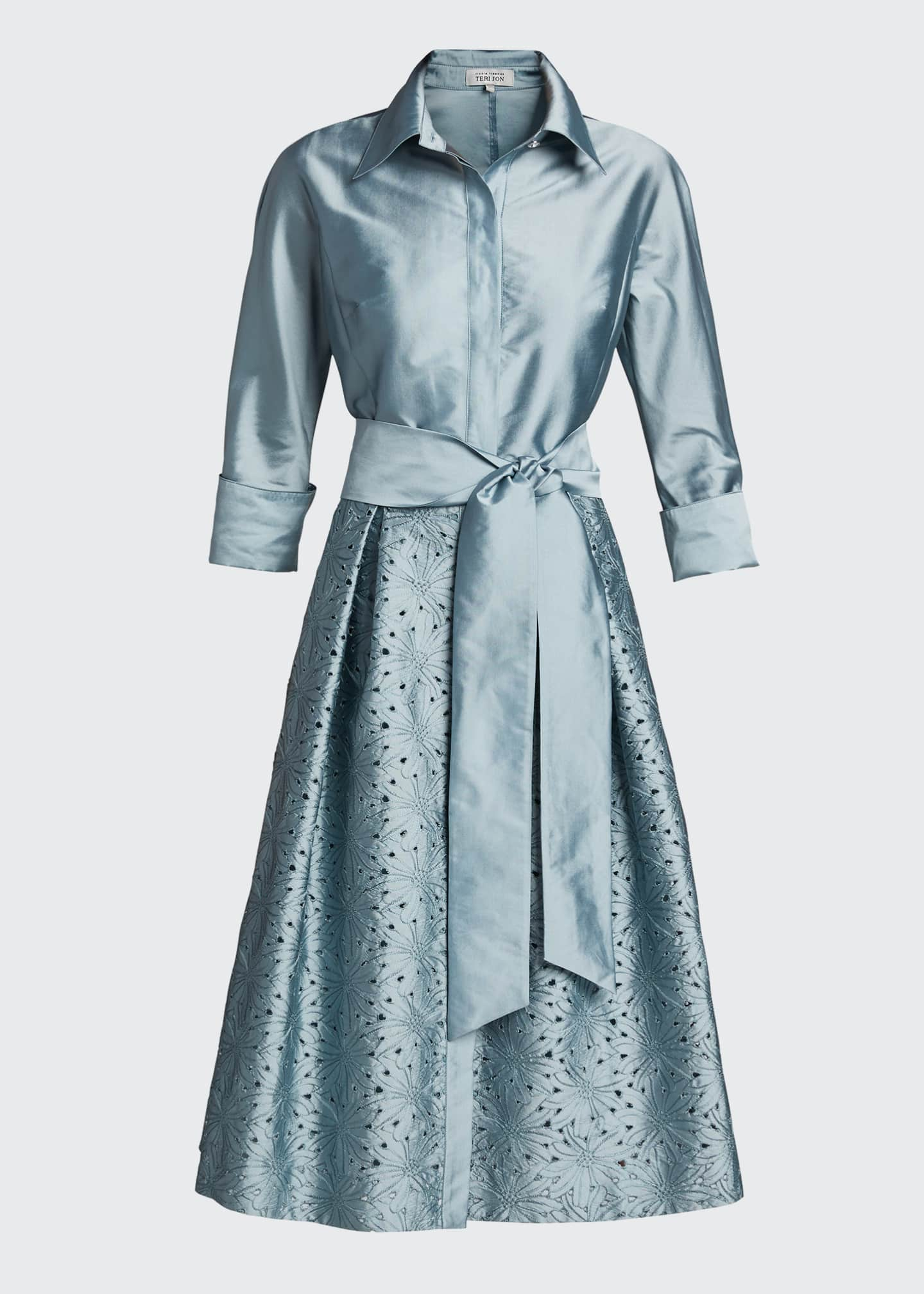 Image 5 of 5: Taffeta Shirt Dress w/ Eyelet Skirt