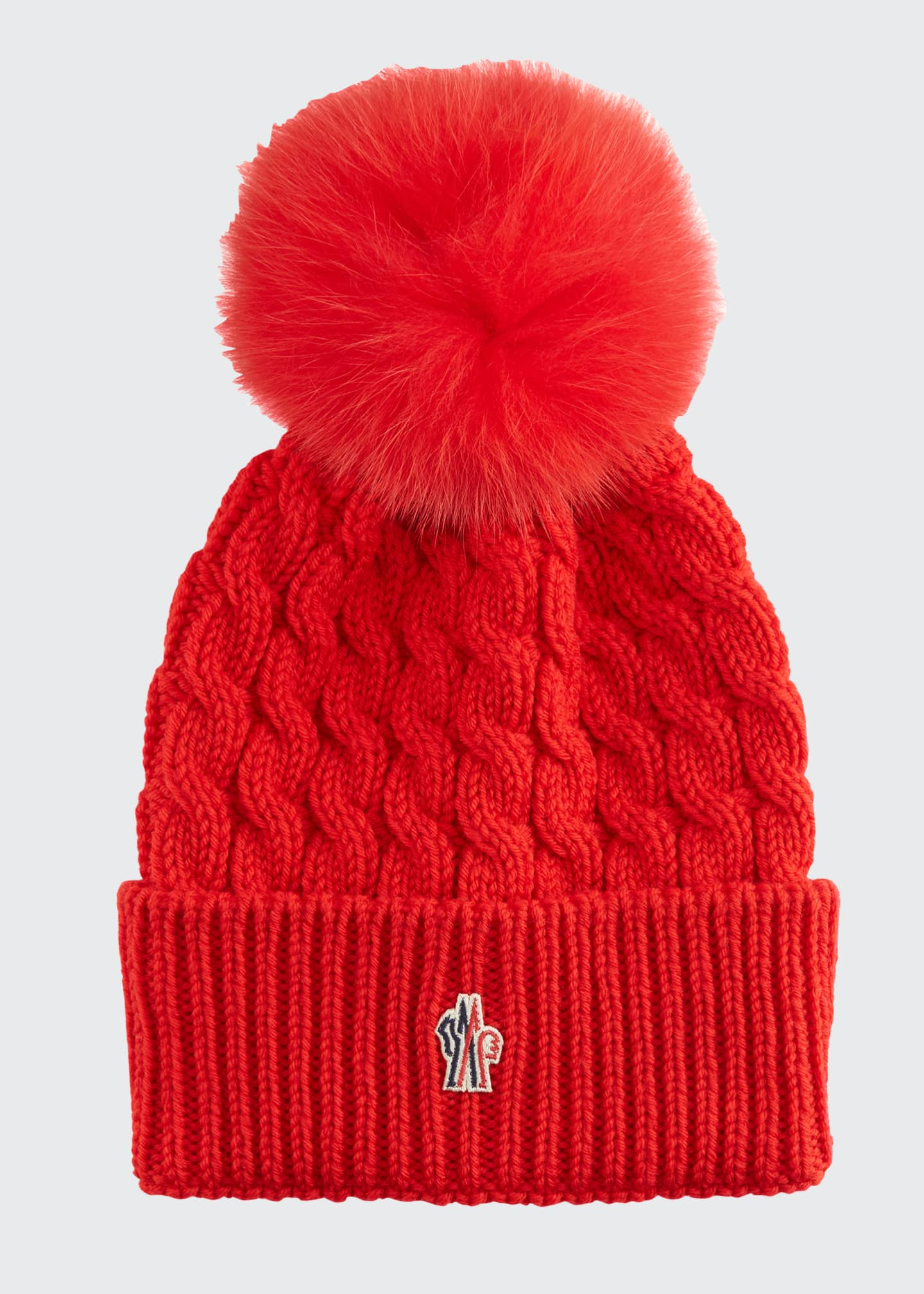 Image 1 of 1: Wool Cable-Knit Fur Pom Beanie
