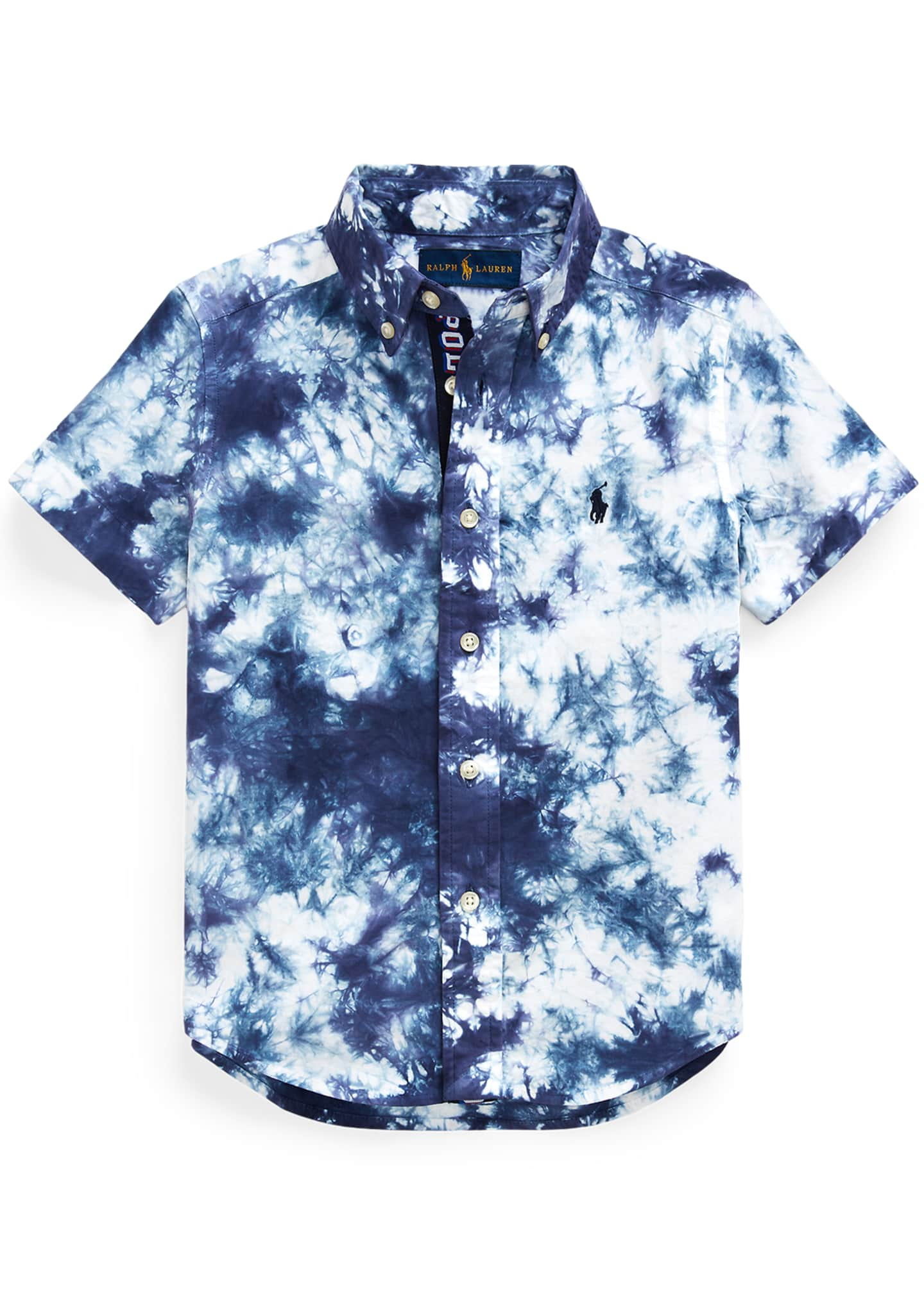 Image 1 of 2: Boy's Tie Dyed Poplin Button-Down Shirt, Size 2-4
