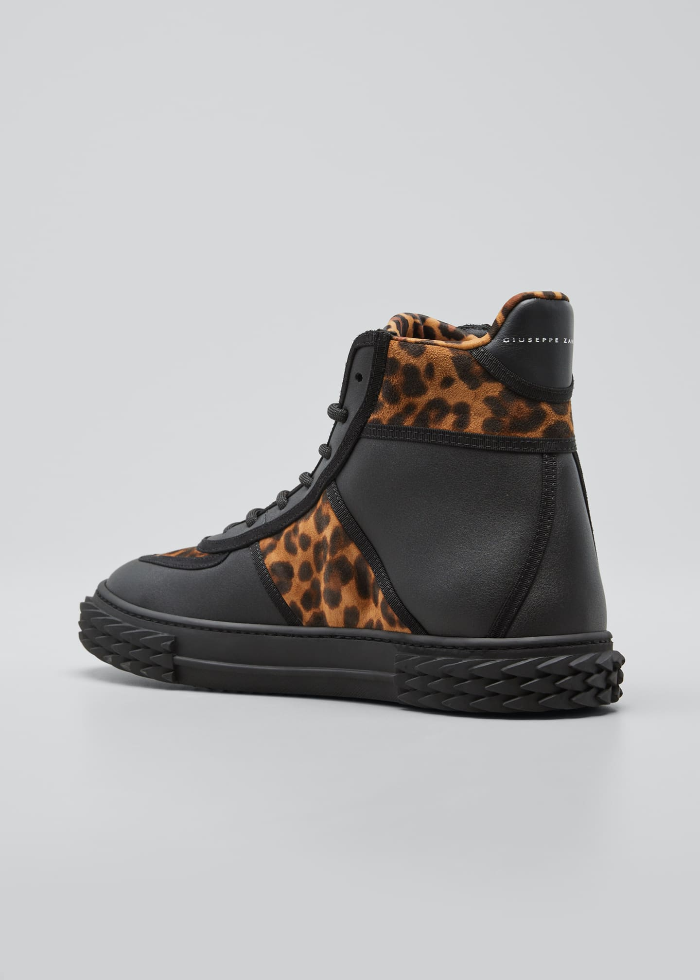 Image 2 of 3: Men's Blabber Leopard-Print Silk/Leather High-Top Sneakers