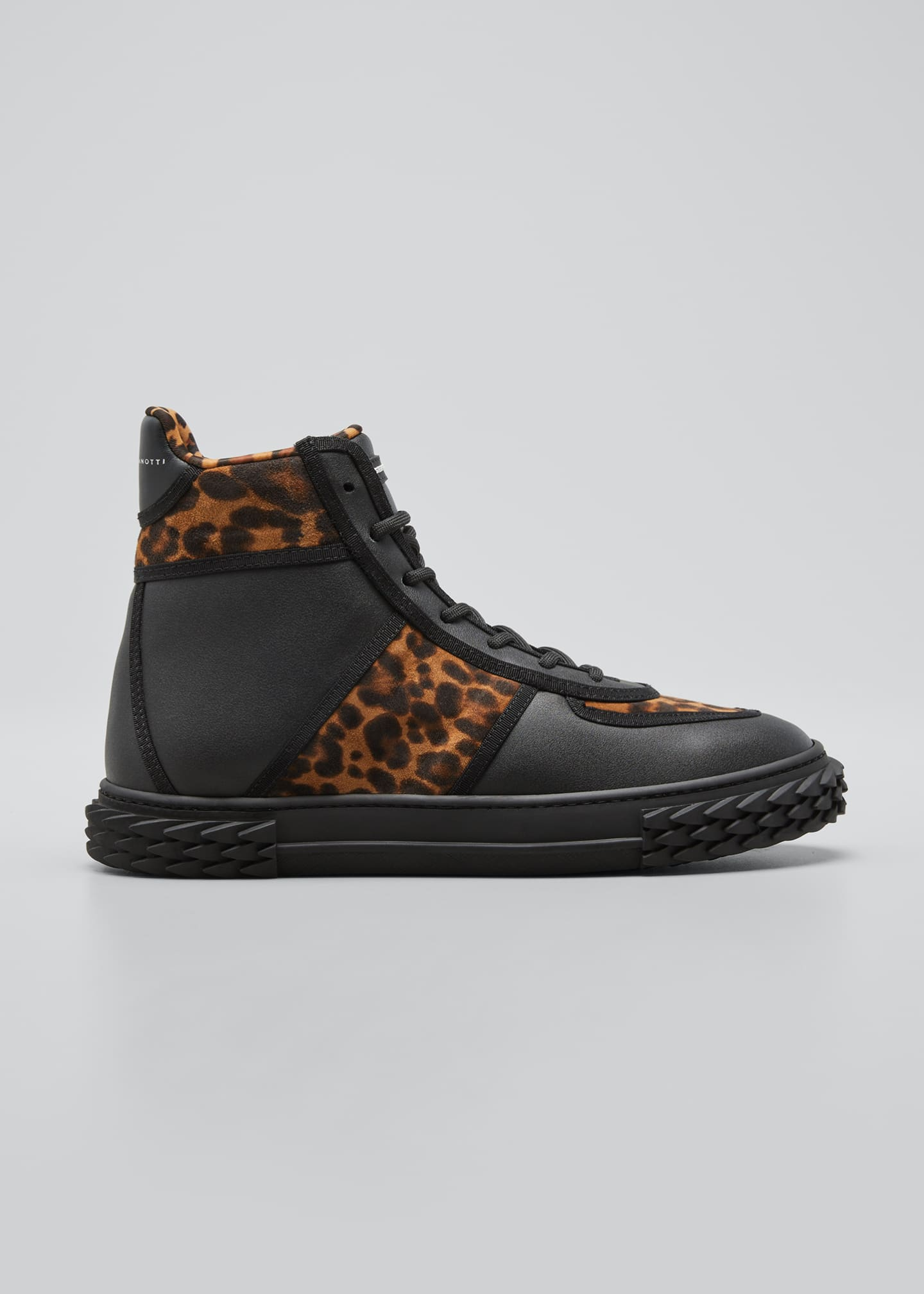 Image 1 of 3: Men's Blabber Leopard-Print Silk/Leather High-Top Sneakers