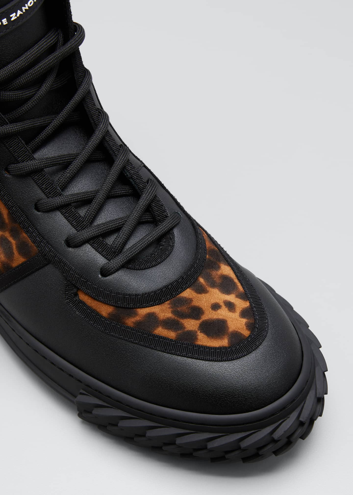 Image 3 of 3: Men's Blabber Leopard-Print Silk/Leather High-Top Sneakers