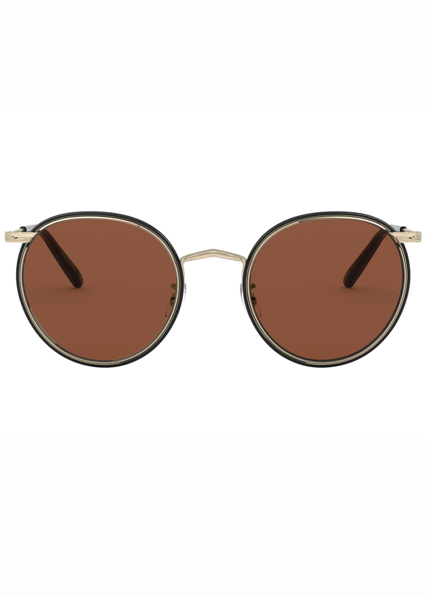 Image 2 of 2: Men's Casson Round Aviator Titanium Sunglasses