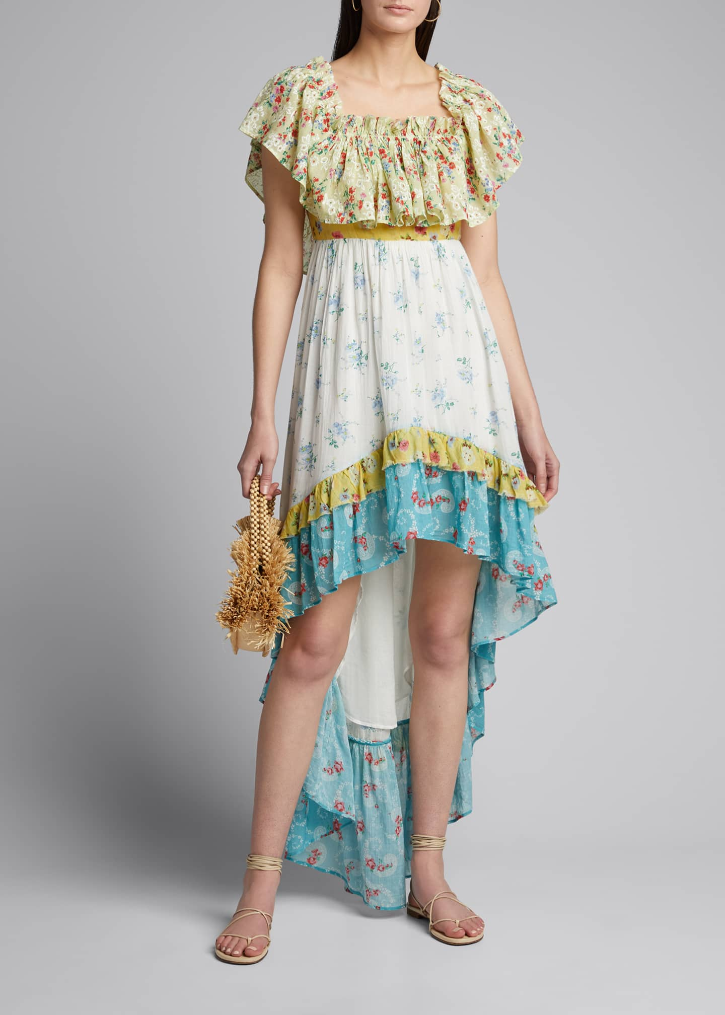 Image 1 of 5: Alexia Floral High-Low Ruffle Dress