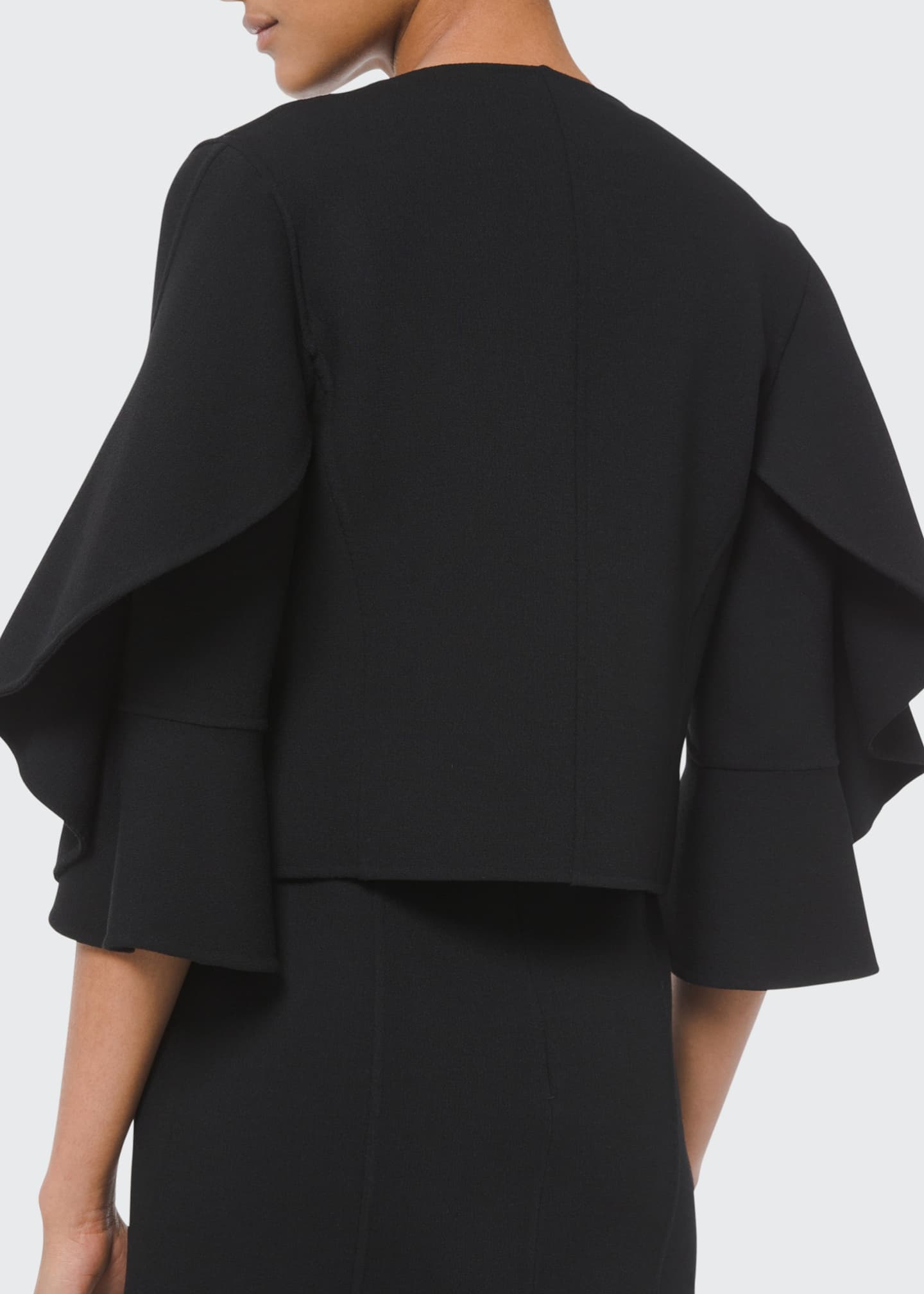 Image 2 of 5: Double-Face Ruffle-Sleeve Cardi Jacket