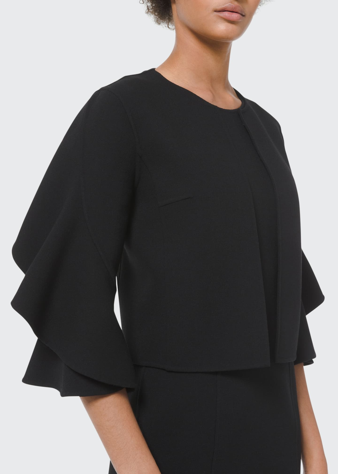 Image 1 of 5: Double-Face Ruffle-Sleeve Cardi Jacket