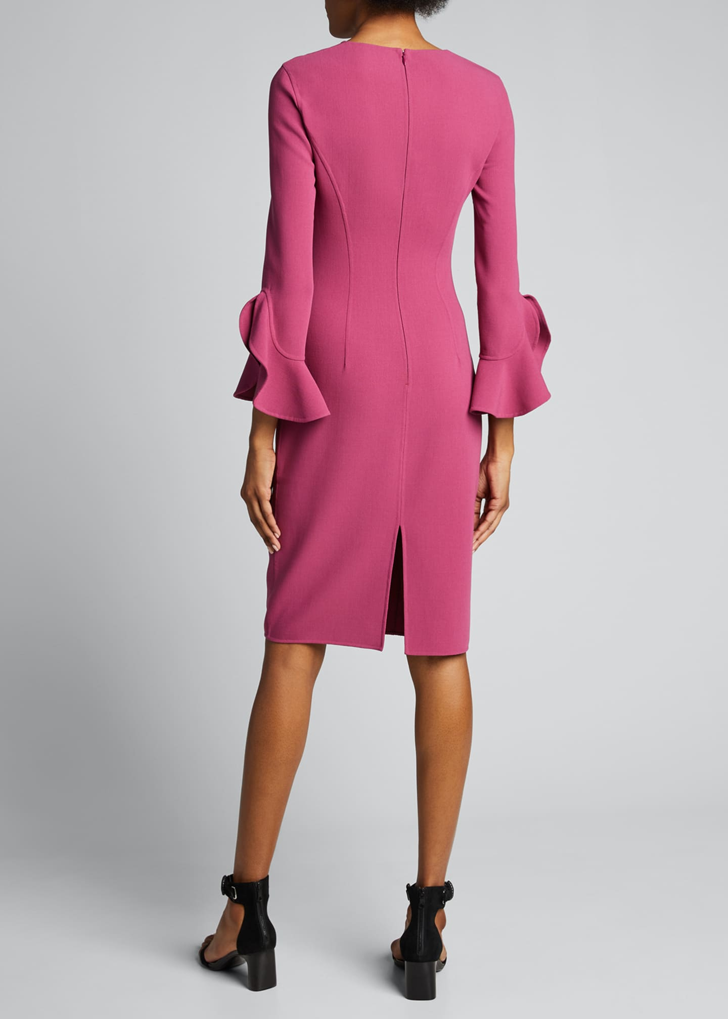 Image 2 of 5: Crepe Ruffle-Sleeve 3/4-Sleeve Dress
