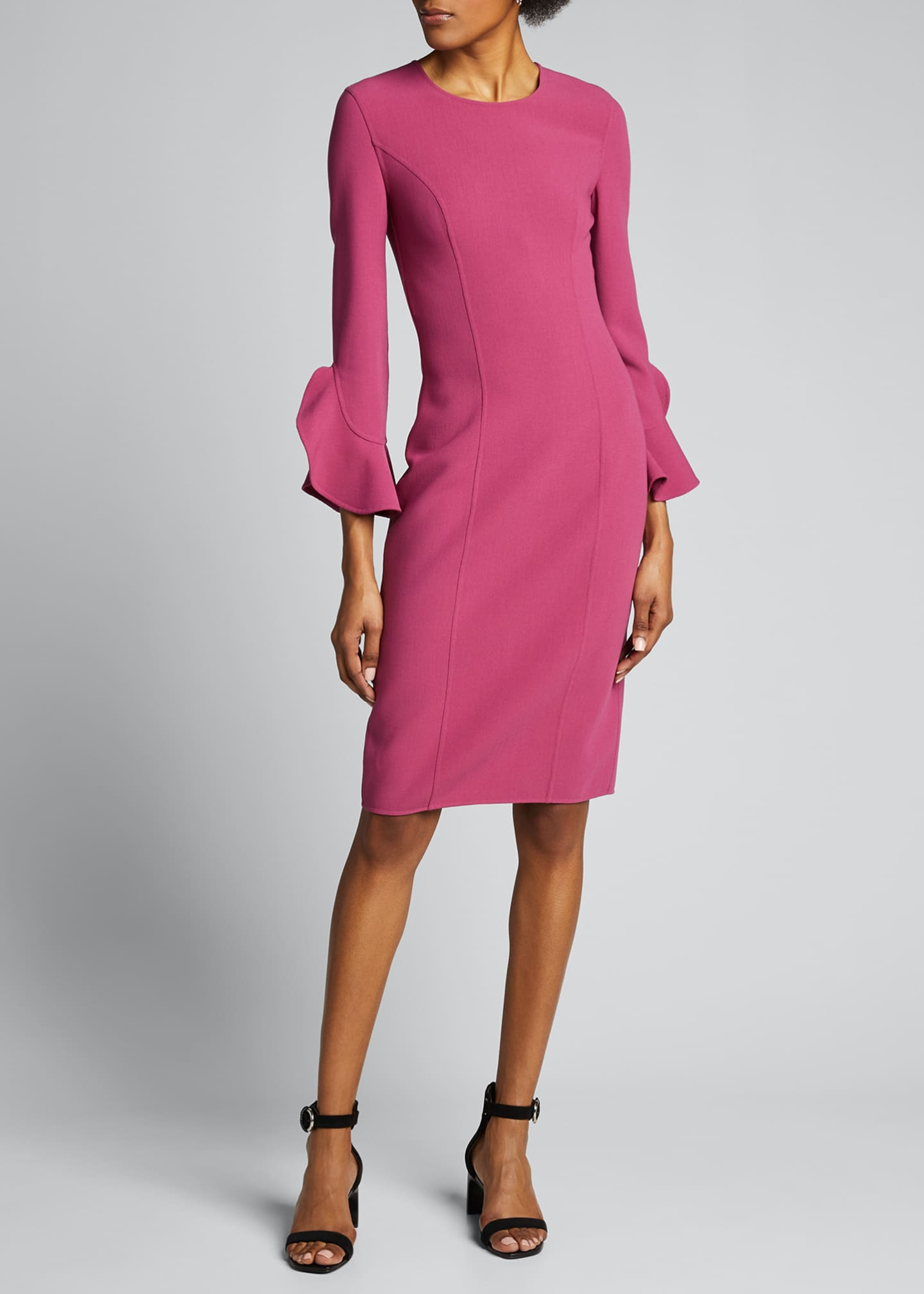 Image 3 of 5: Crepe Ruffle-Sleeve 3/4-Sleeve Dress