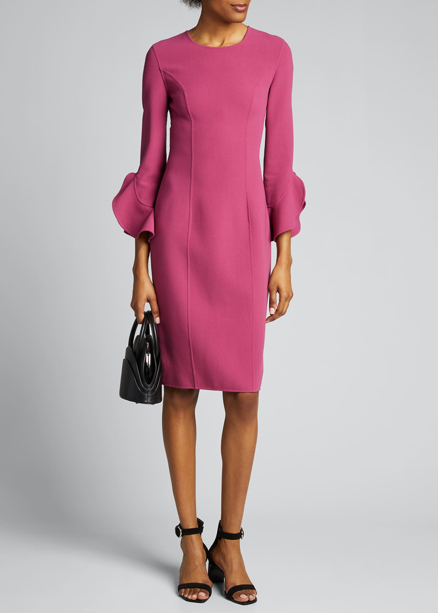 Image 1 of 5: Crepe Ruffle-Sleeve 3/4-Sleeve Dress