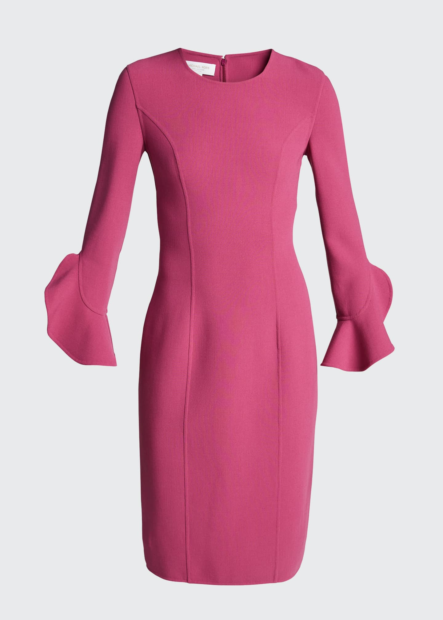 Image 5 of 5: Crepe Ruffle-Sleeve 3/4-Sleeve Dress