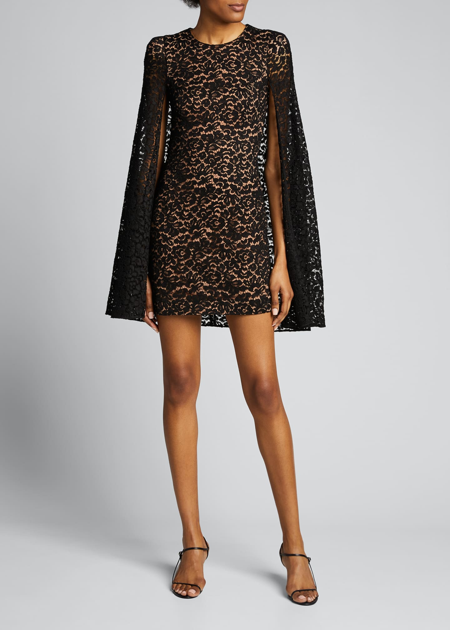 Image 3 of 5: Floral Lace Cape Dress