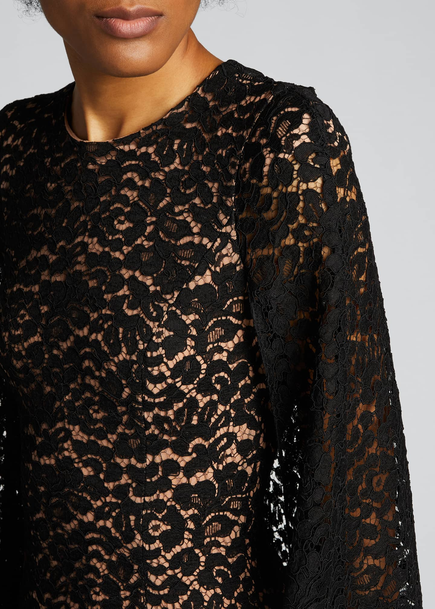 Image 4 of 5: Floral Lace Cape Dress