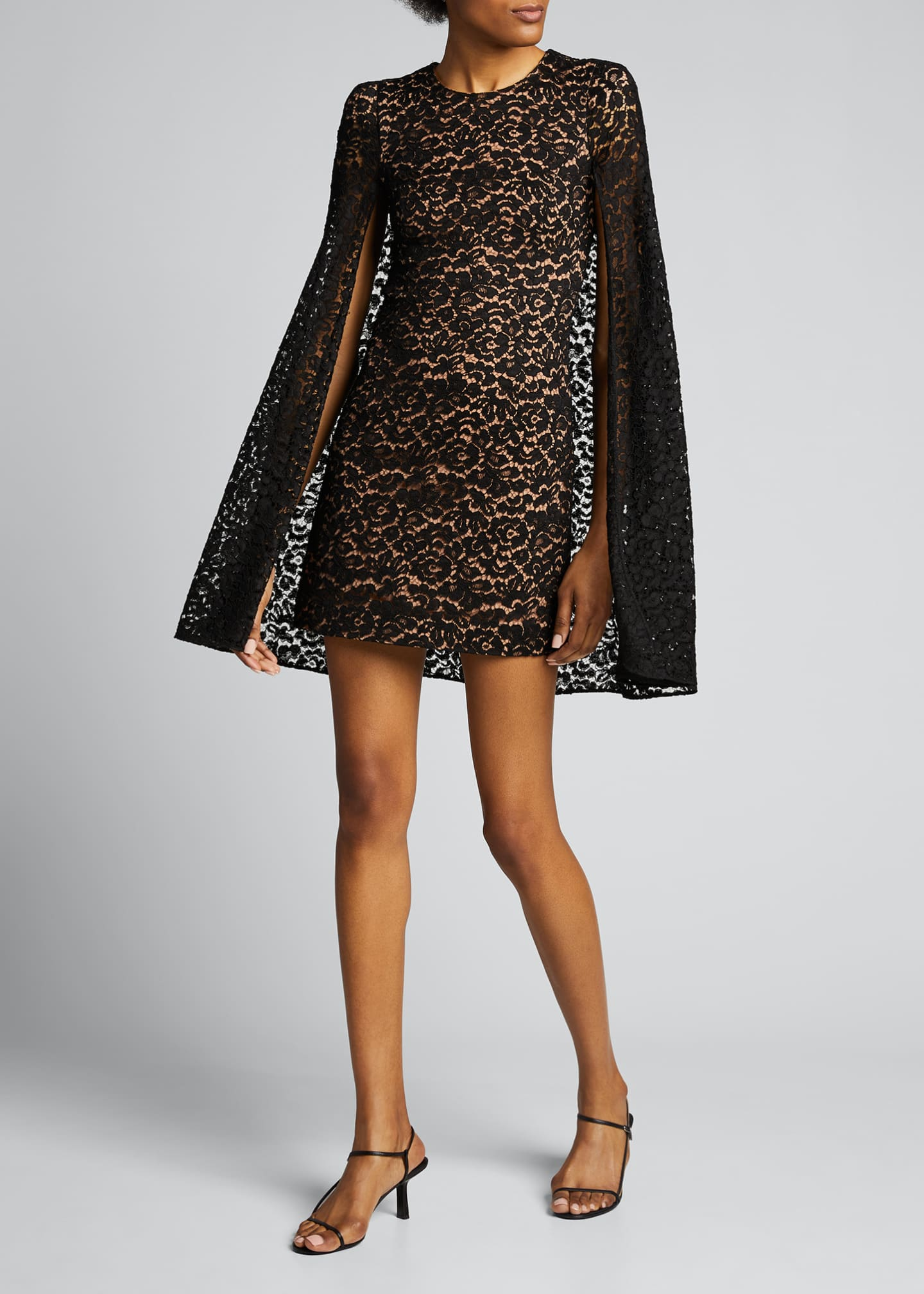 Image 1 of 5: Floral Lace Cape Dress