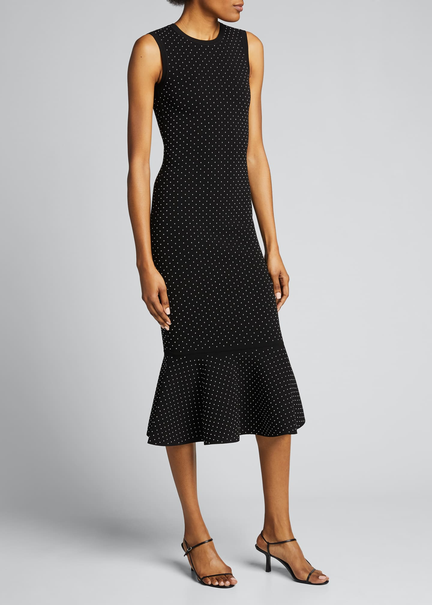 Image 3 of 5: Studded Double-Knit Mermaid Midi Dress