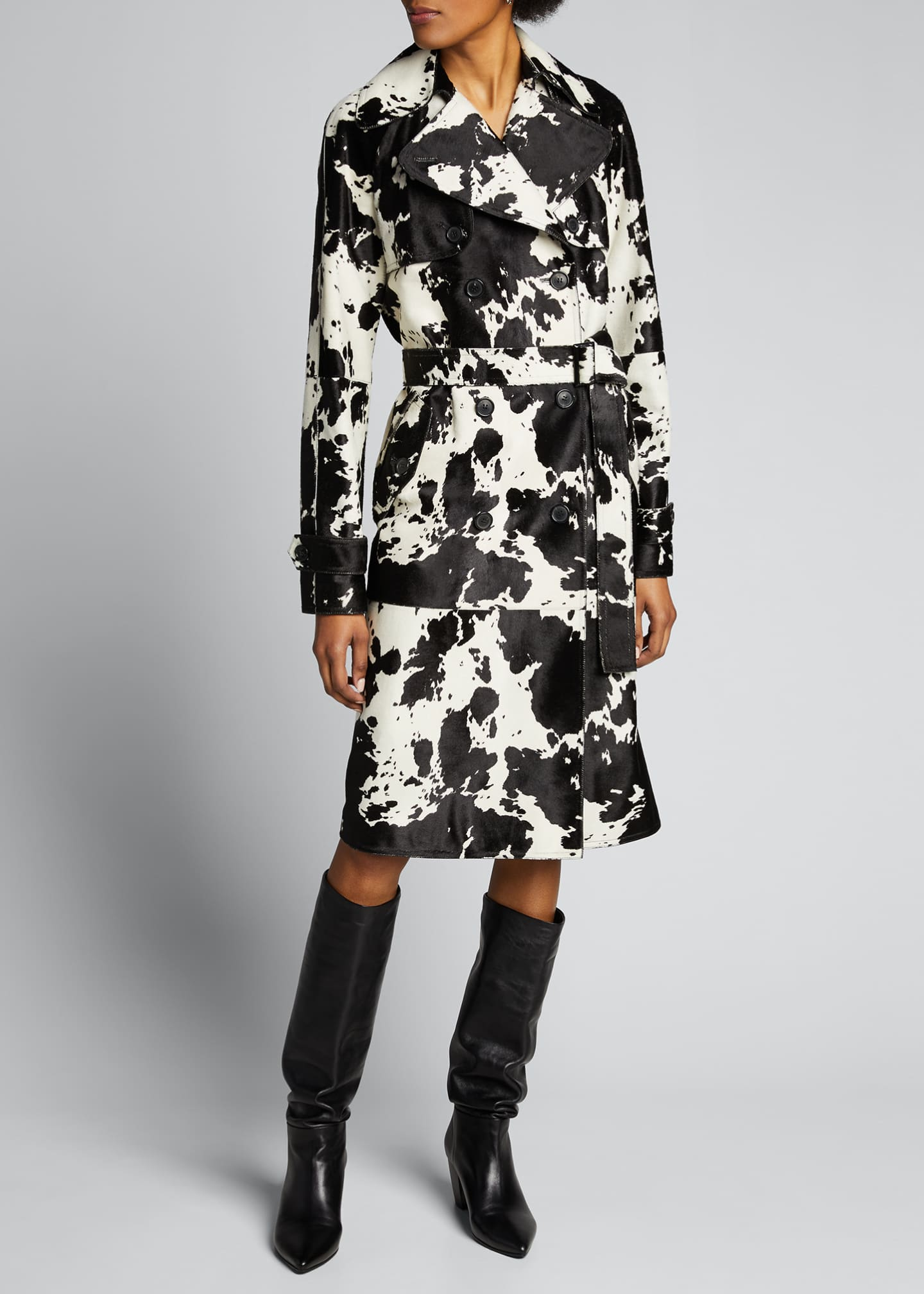 Image 1 of 5: Calf Hair Trench Coat