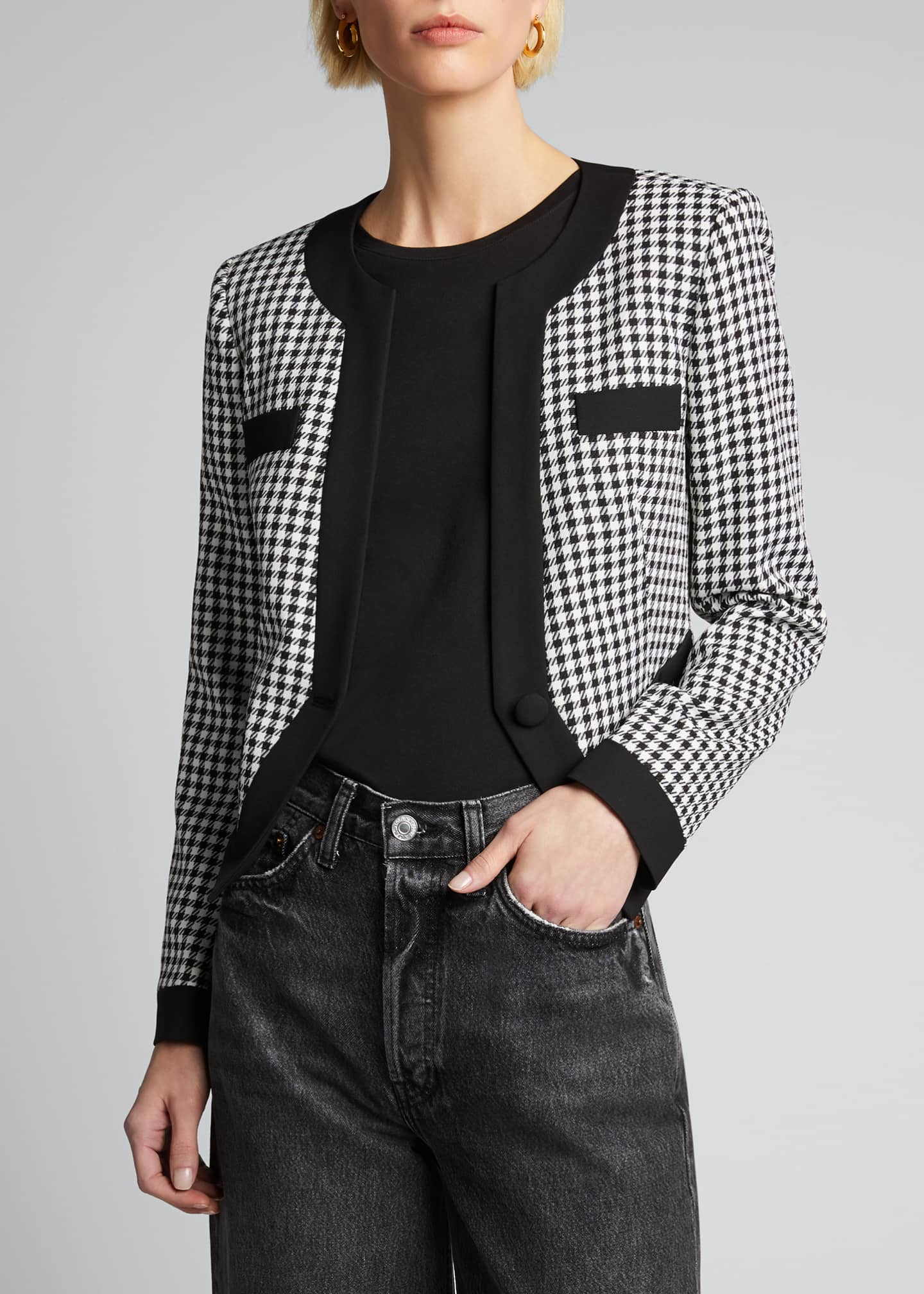 Image 3 of 5: Aimee Cavalry Twill Check Cropped Jacket