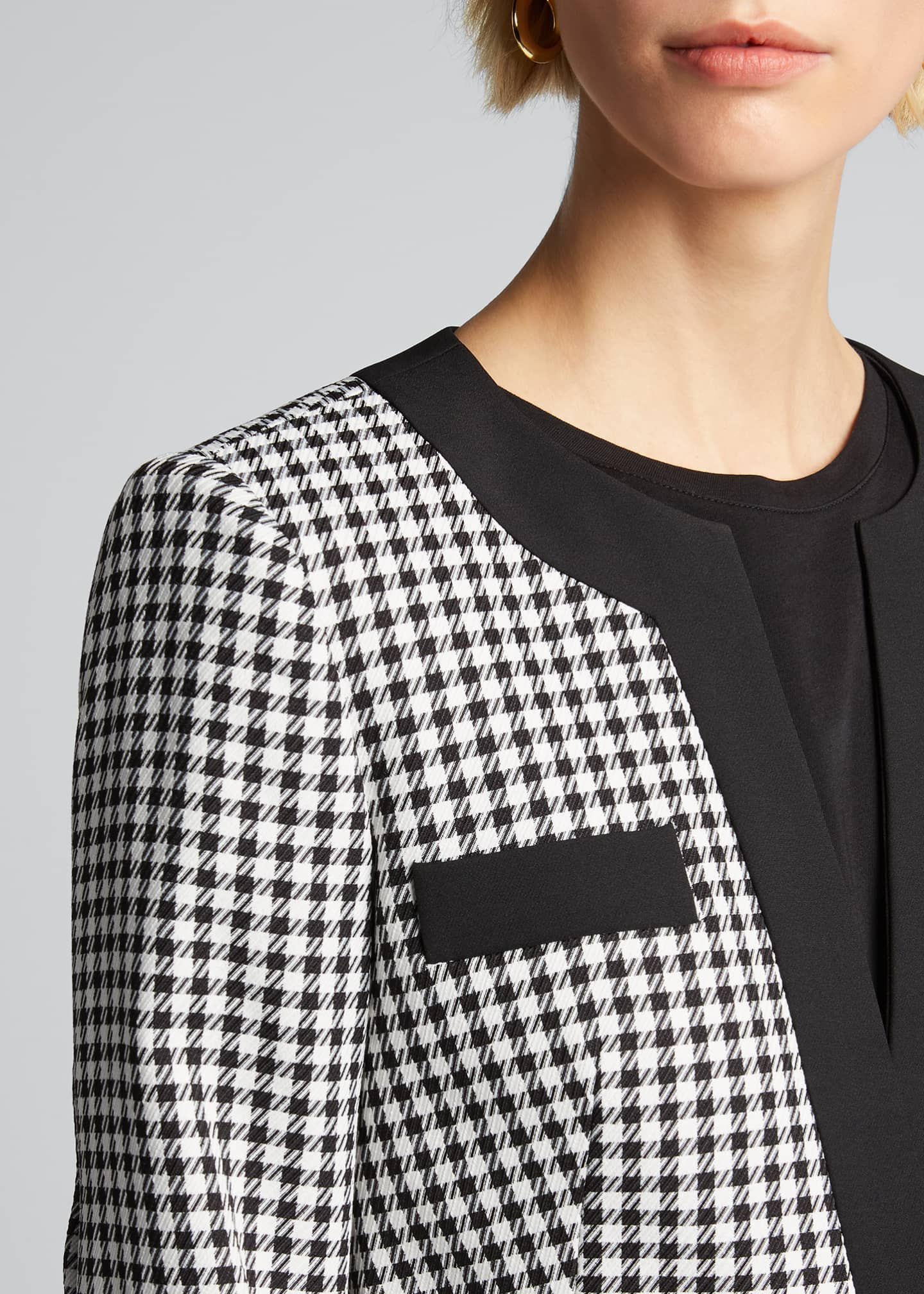 Image 4 of 5: Aimee Cavalry Twill Check Cropped Jacket