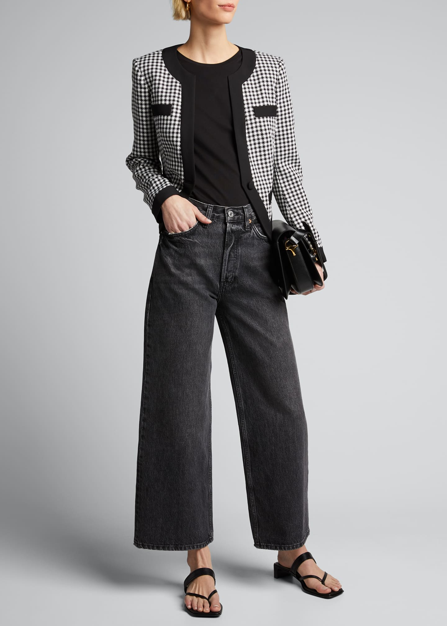 Image 1 of 5: Aimee Cavalry Twill Check Cropped Jacket