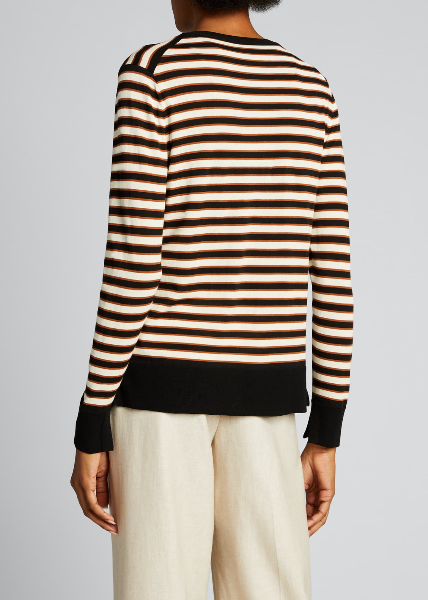 Image 2 of 5: Striped Button-Front Cotton Cardigan