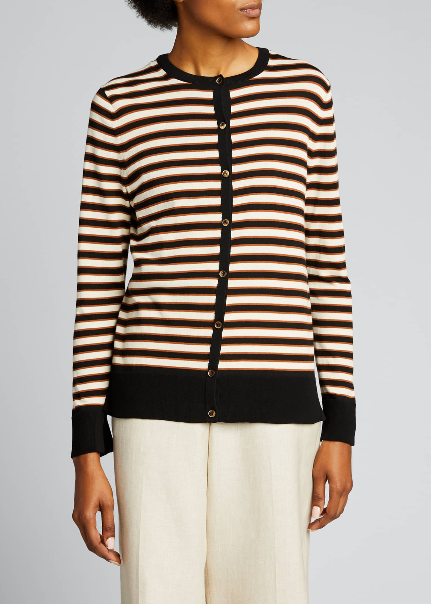 Image 3 of 5: Striped Button-Front Cotton Cardigan