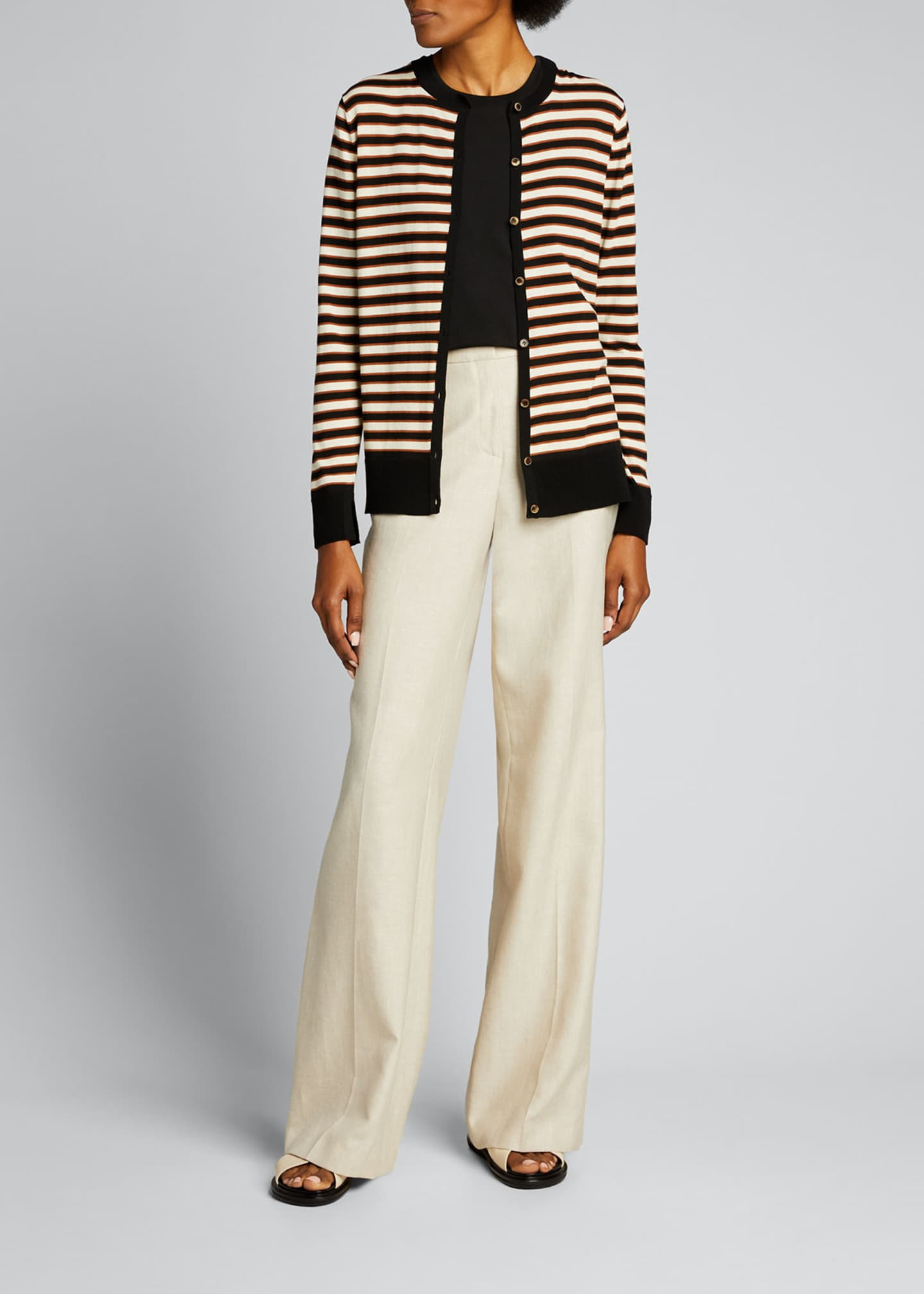 Image 1 of 5: Striped Button-Front Cotton Cardigan