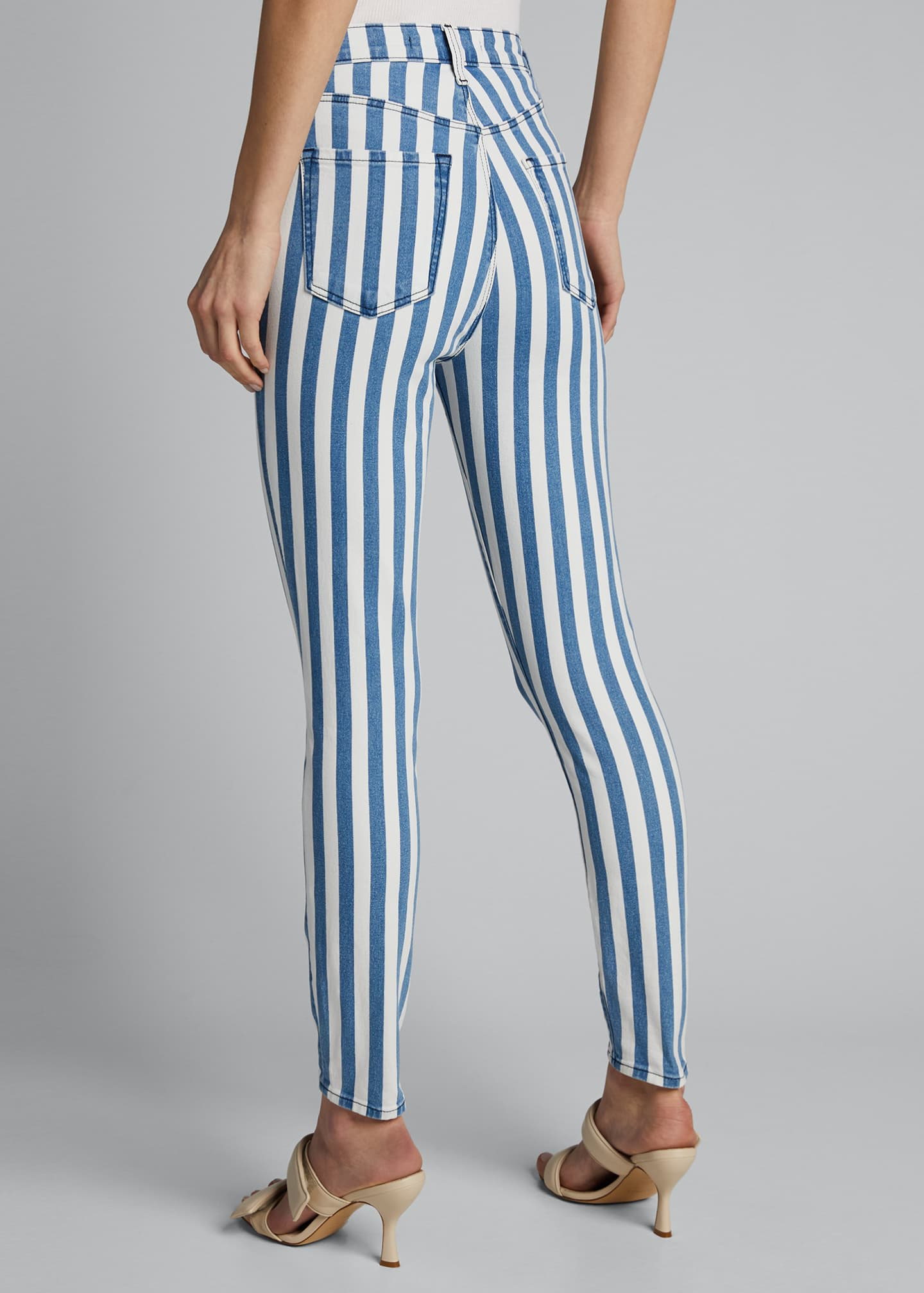 Image 2 of 4: Lillie Striped High Rise Skinny Cropped Jeans
