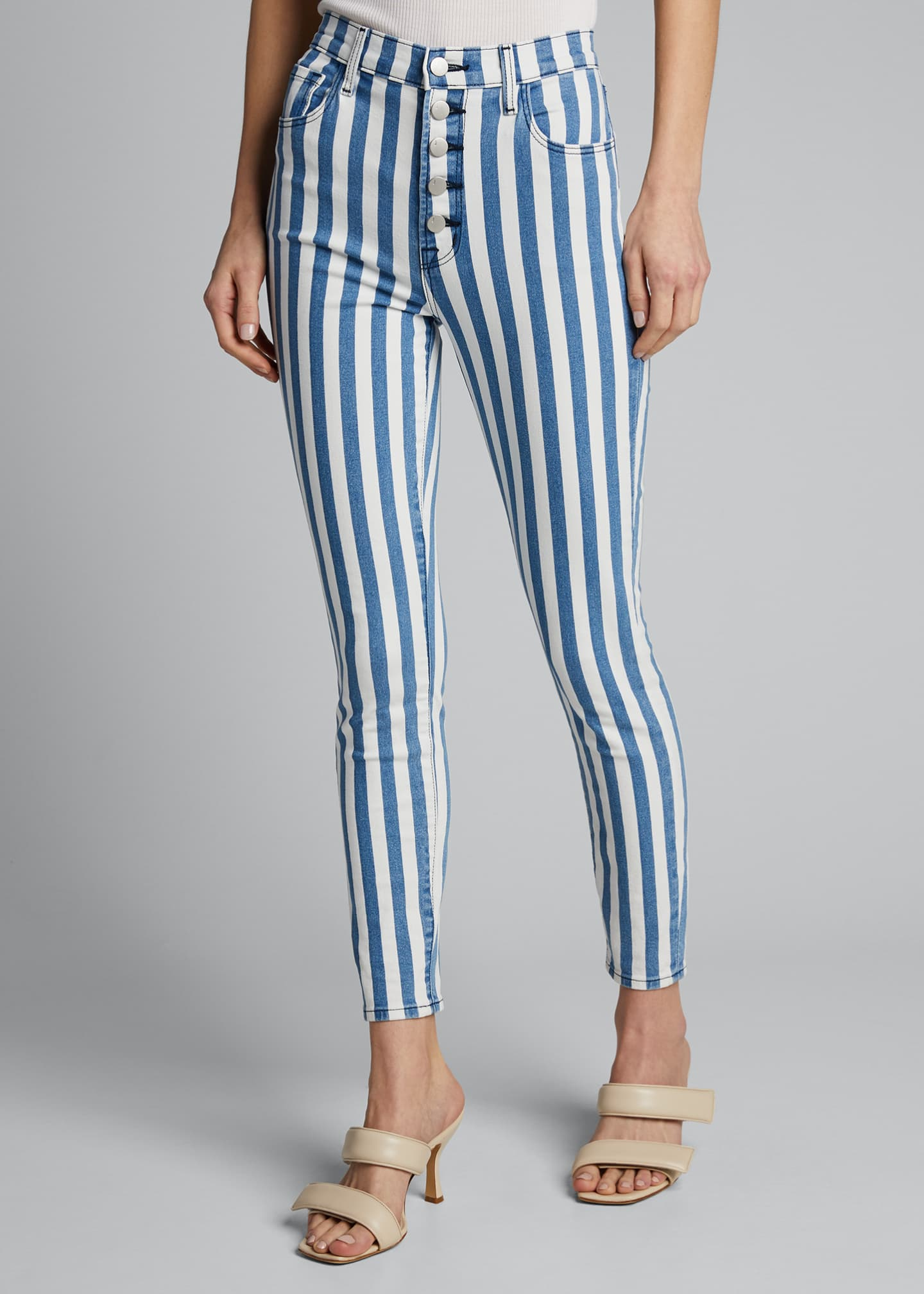 Image 3 of 4: Lillie Striped High Rise Skinny Cropped Jeans