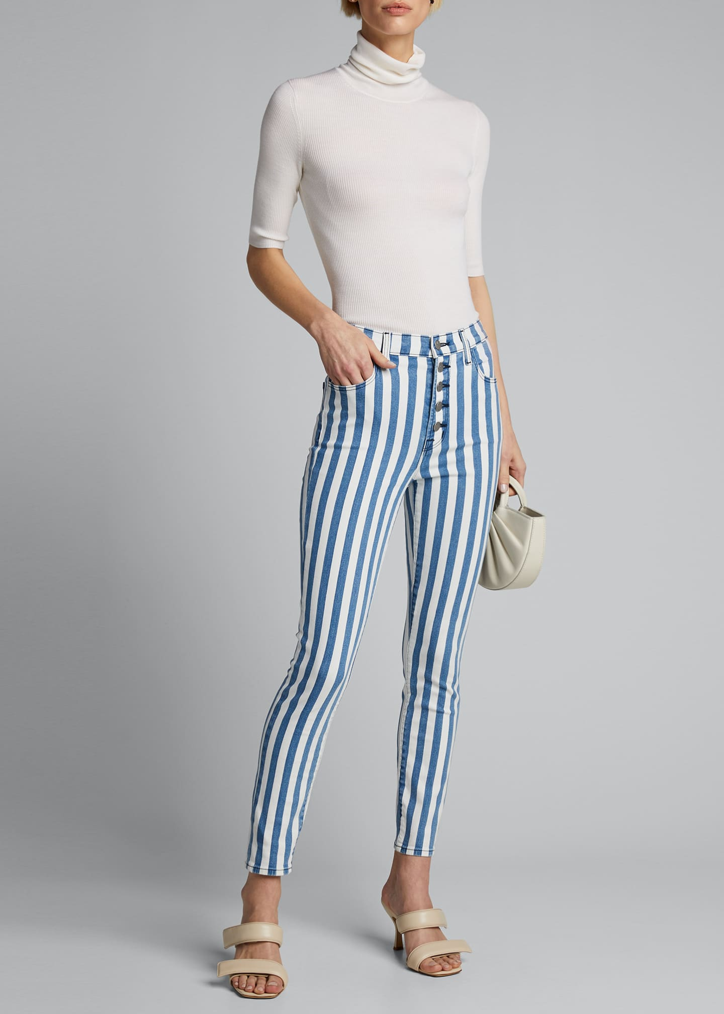 Image 1 of 4: Lillie Striped High Rise Skinny Cropped Jeans