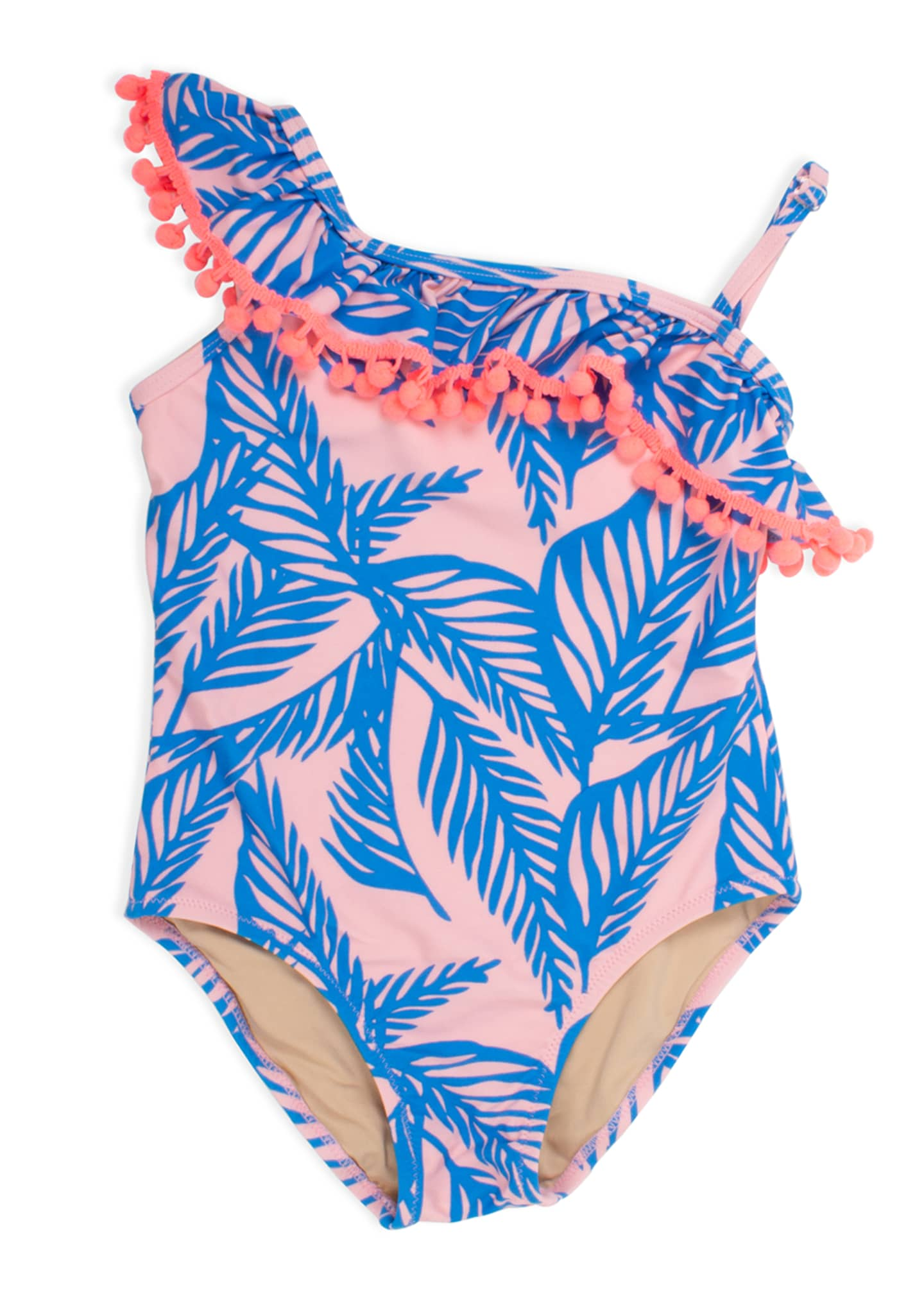 Image 1 of 2: Girl's Palm Print One-Shoulder One-Piece Swimsuit, Size 2-6