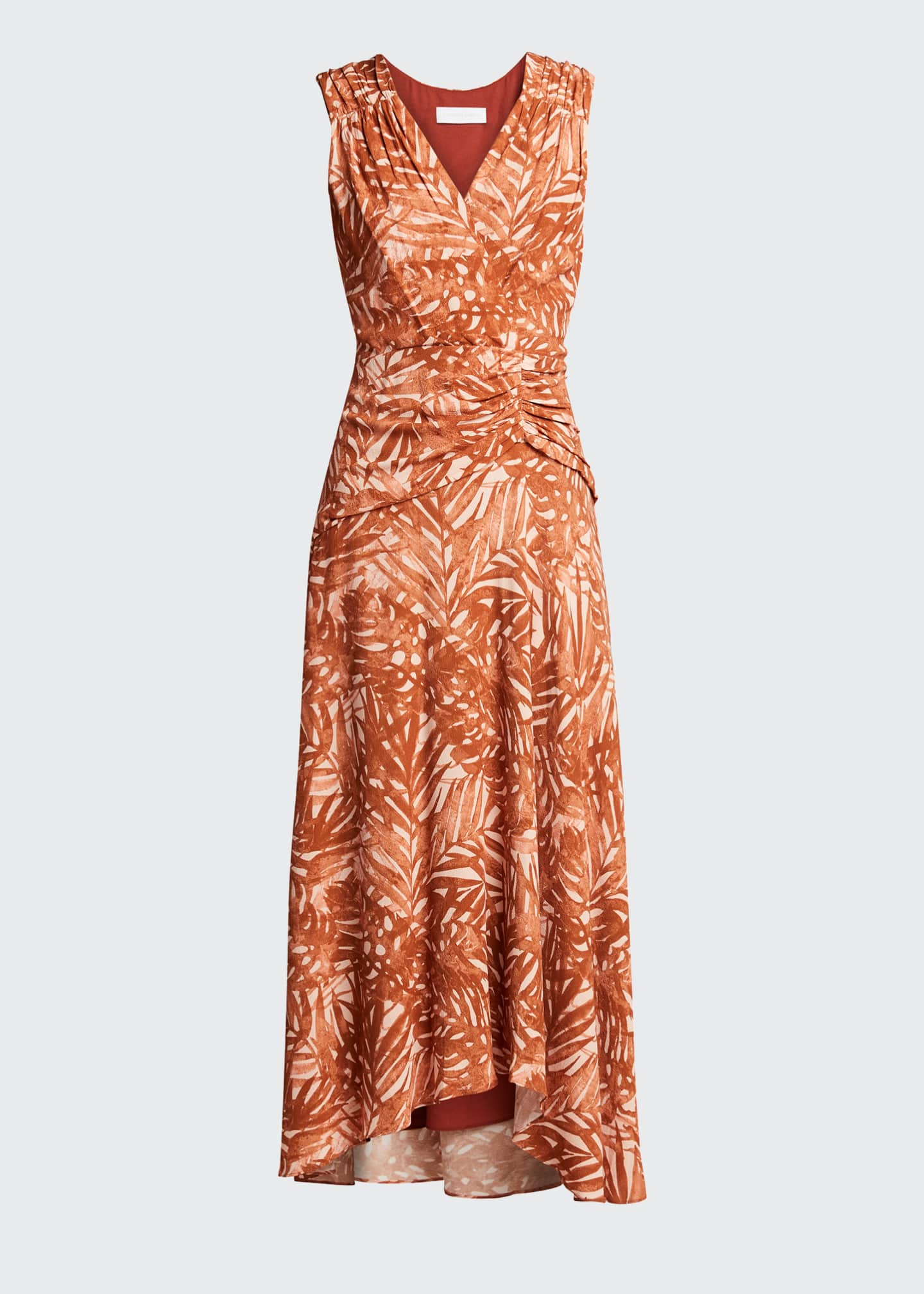 Image 5 of 5: Pricilla Printed Sleeveless V-Neck Ruched Dress