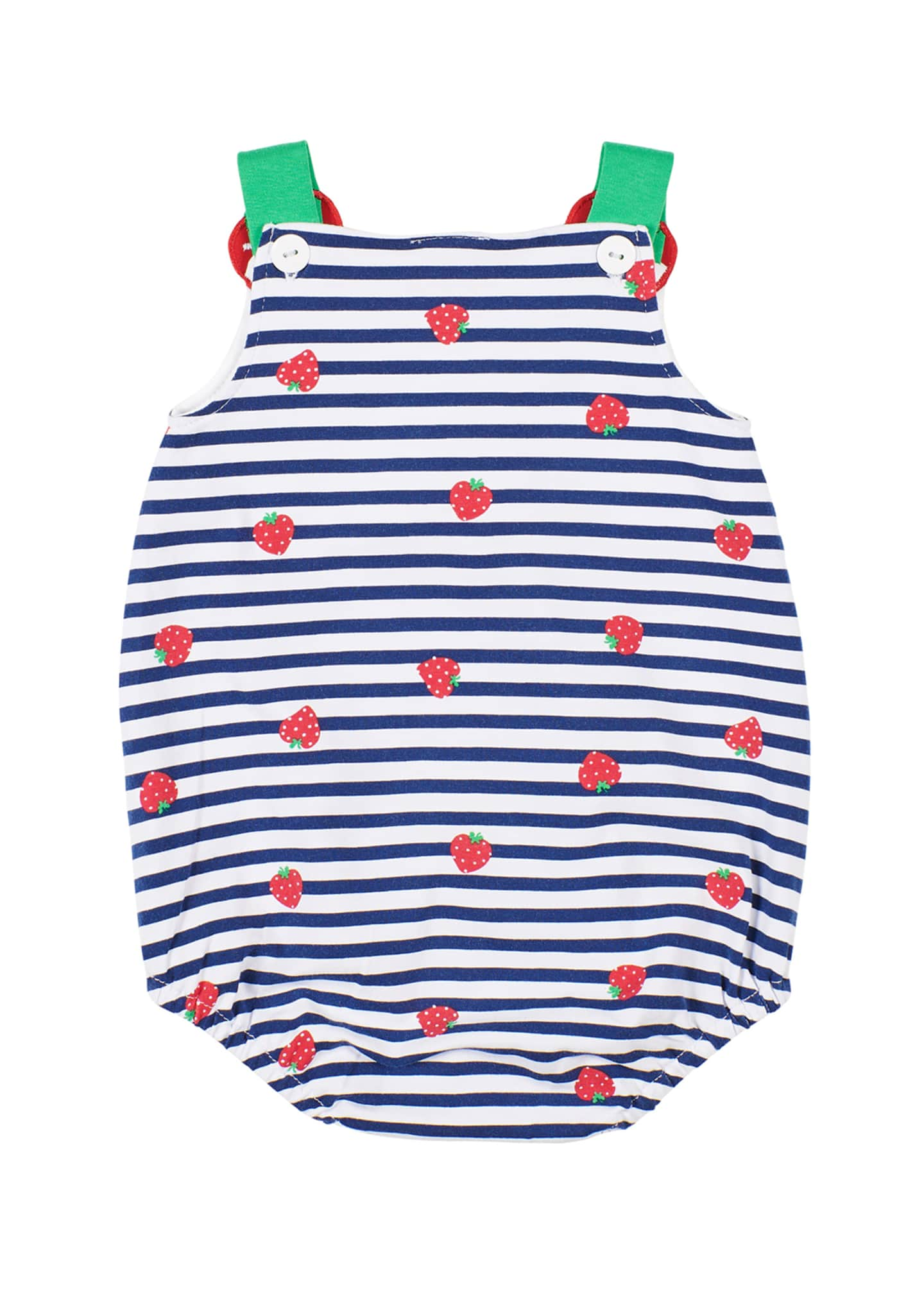 Image 2 of 2: Striped Strawberry-Print Romper, Size 3-24 Months