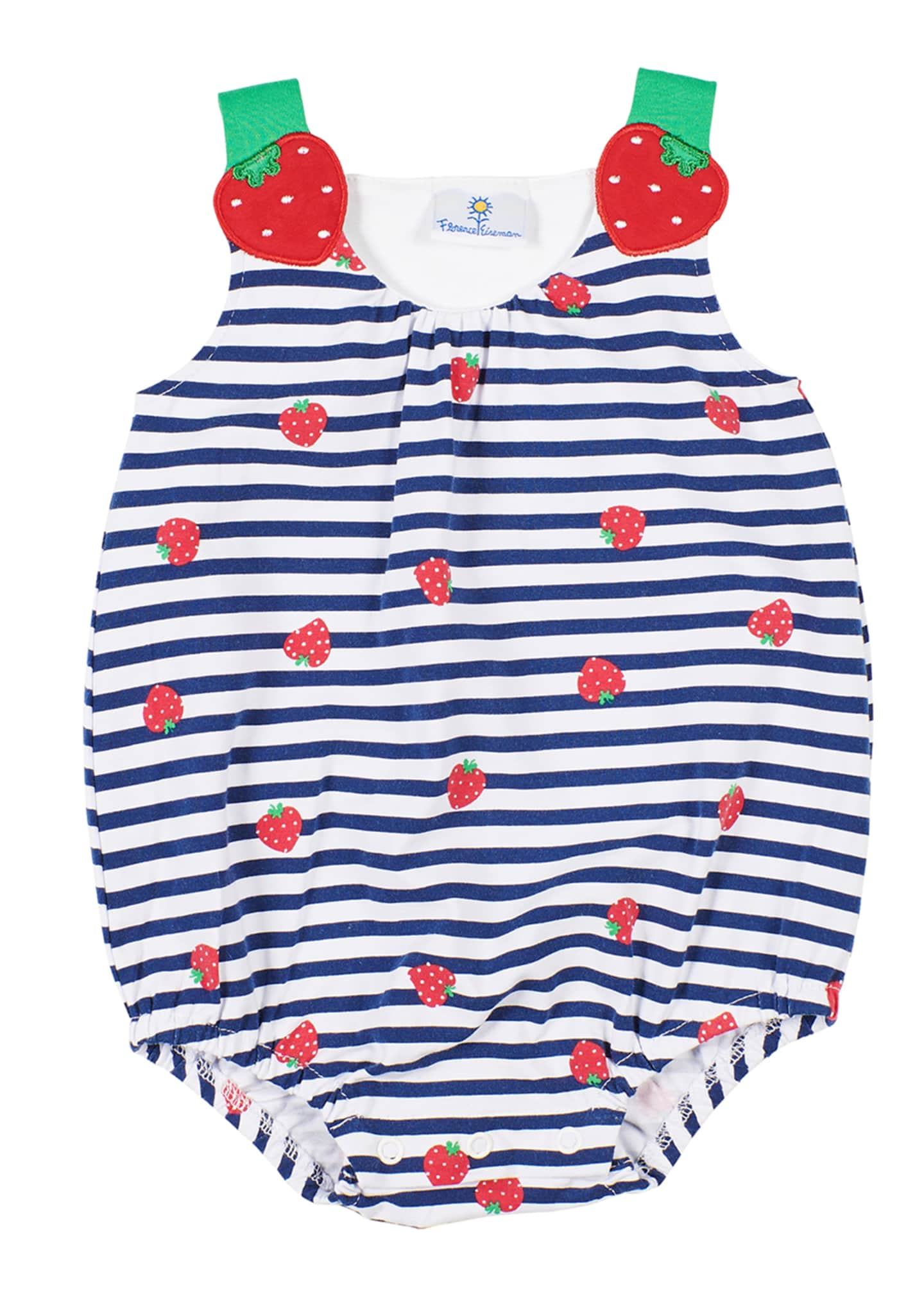 Image 1 of 2: Striped Strawberry-Print Romper, Size 3-24 Months