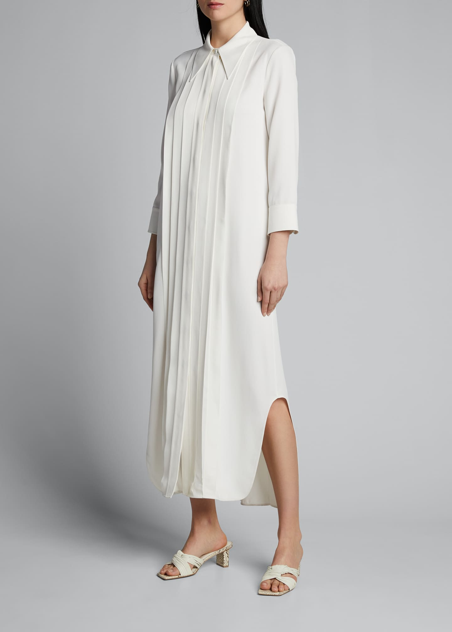 Image 3 of 5: Gabby Pintucked Maxi Shirtdress