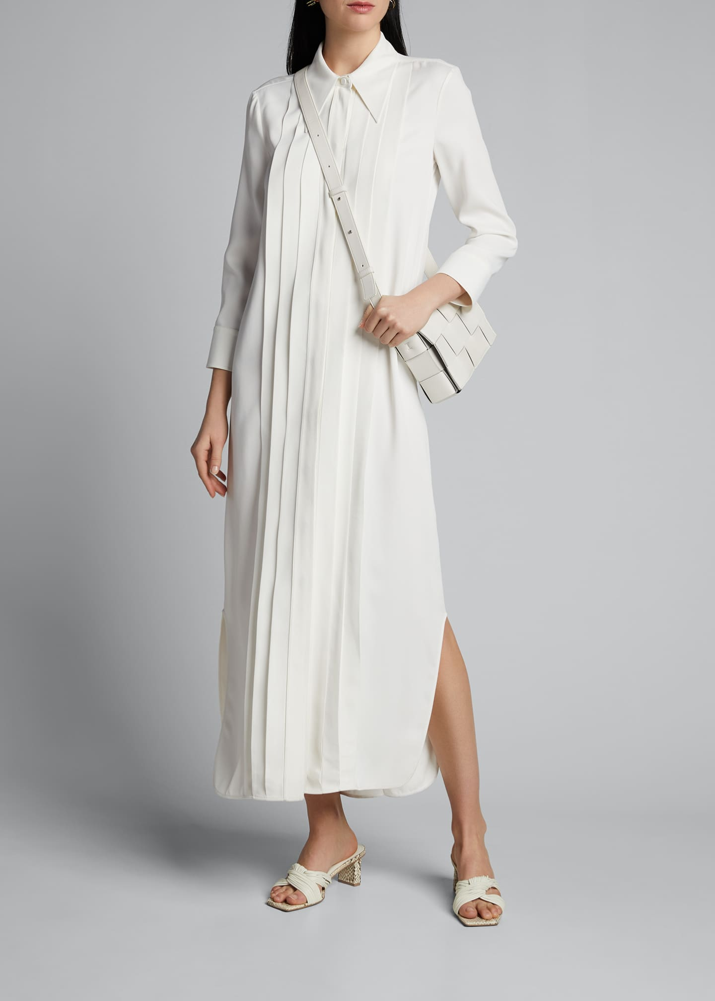 Image 1 of 5: Gabby Pintucked Maxi Shirtdress