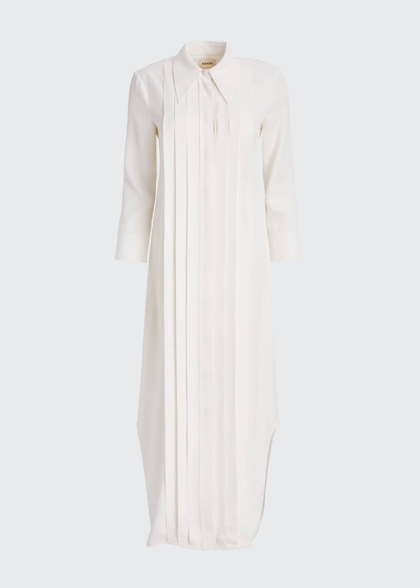 Image 5 of 5: Gabby Pintucked Maxi Shirtdress