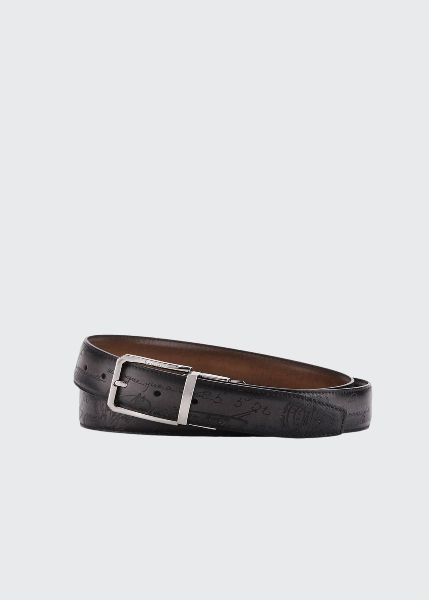 Berluti Reversible Scritto Leather Belt