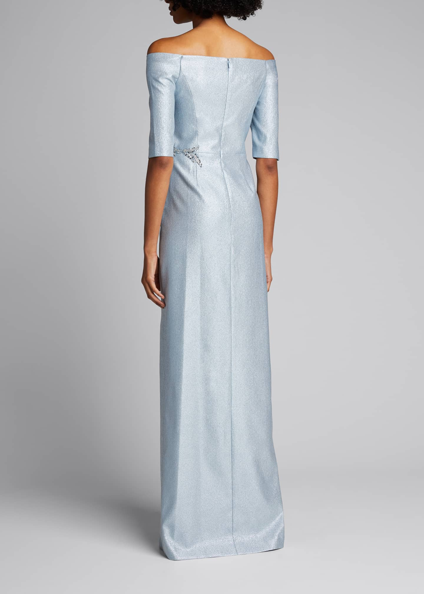 Image 2 of 5: Off-the-Shoulder Elbow-Sleeve Beaded Trim Gown