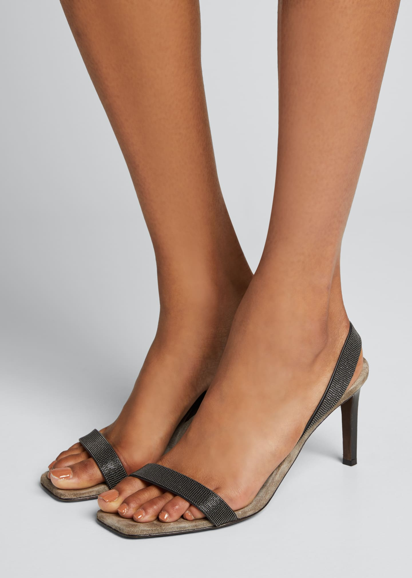 Image 2 of 5: Suede Slingback Sandals With Monili Straps