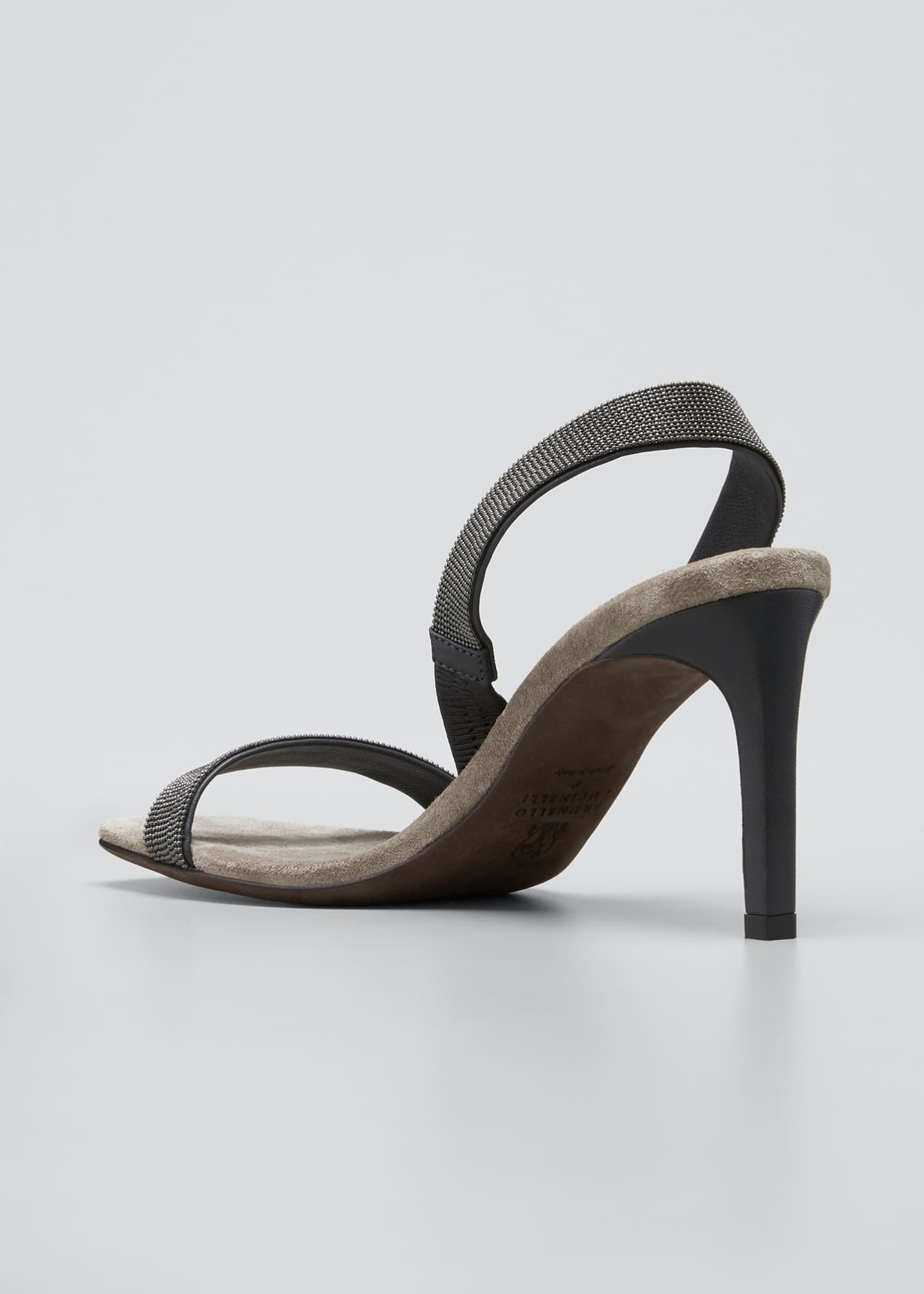 Image 4 of 5: Suede Slingback Sandals With Monili Straps