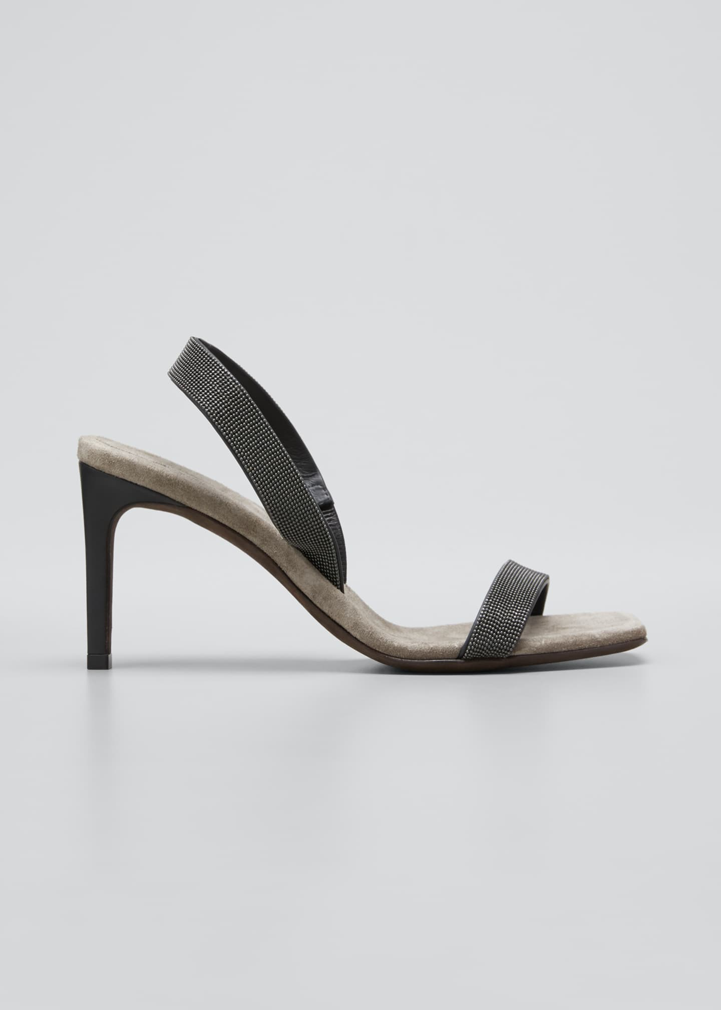 Image 1 of 5: Suede Slingback Sandals With Monili Straps