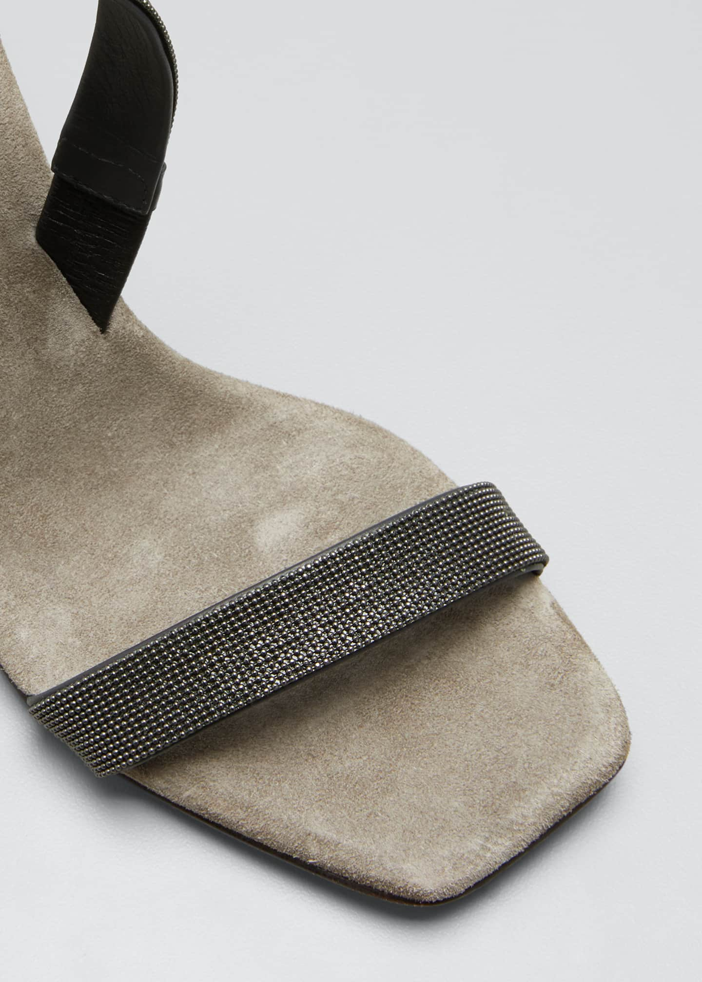 Image 5 of 5: Suede Slingback Sandals With Monili Straps