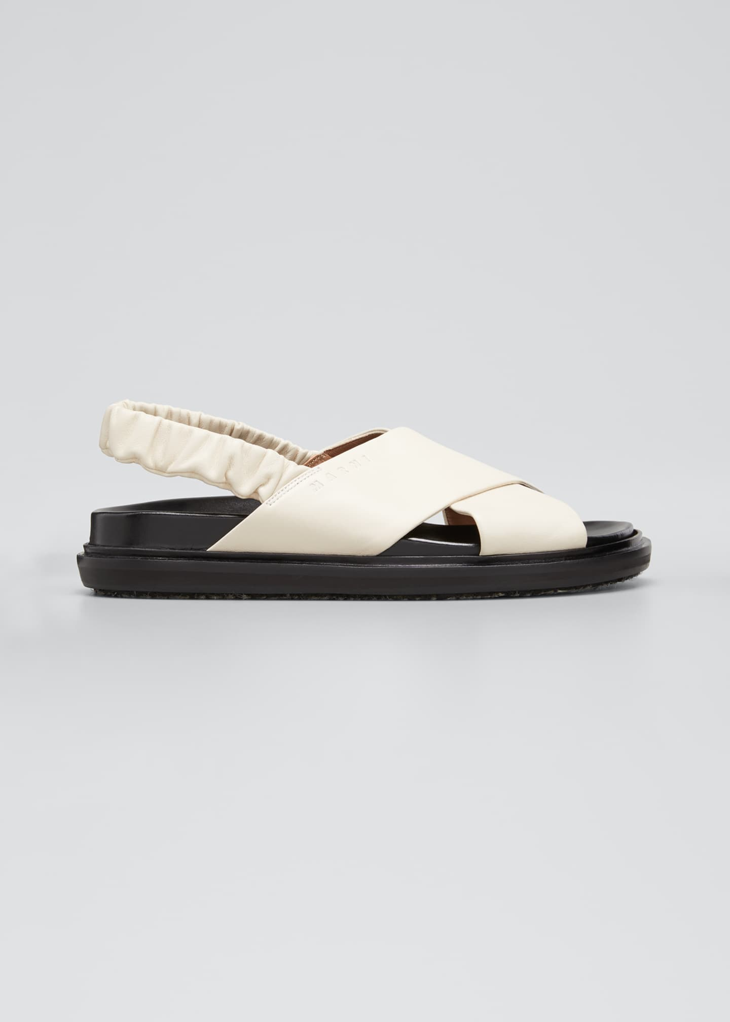 Image 1 of 5: Crisscross Leather Slingback Sandals