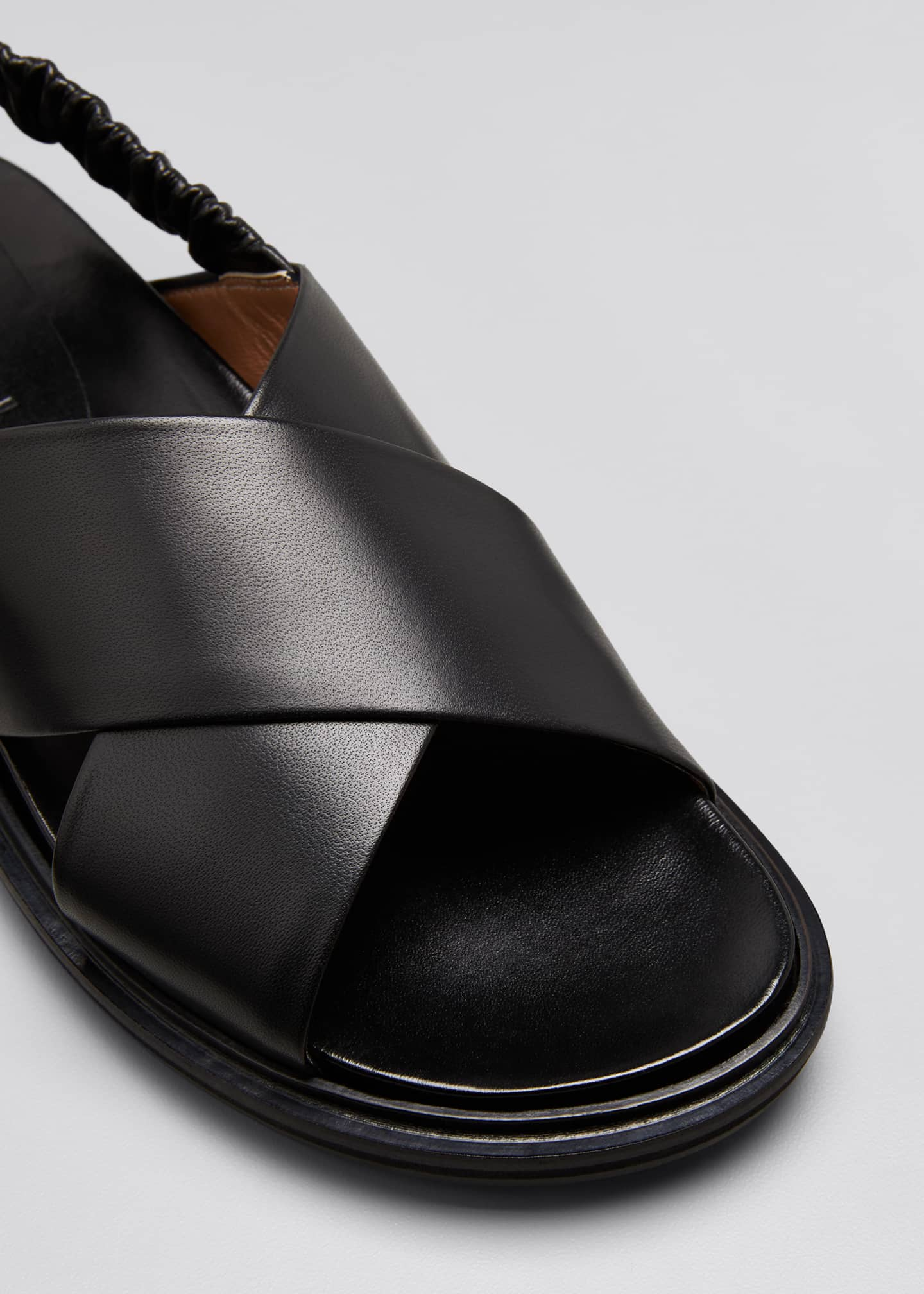 Image 5 of 5: Crisscross Leather Slingback Sandals