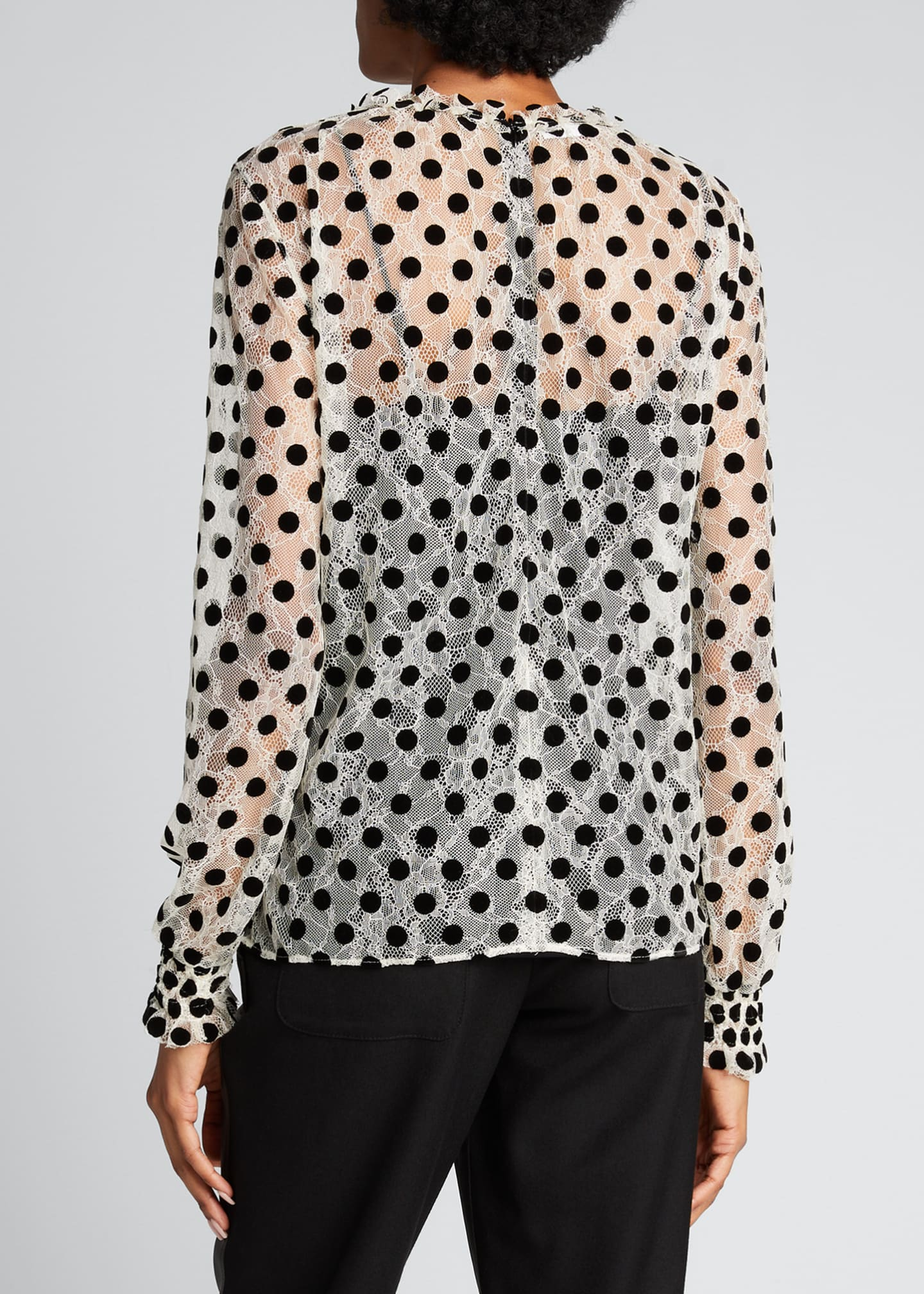 Image 2 of 5: Ruffle Lace Floral Long-Sleeve Dotted Blouse