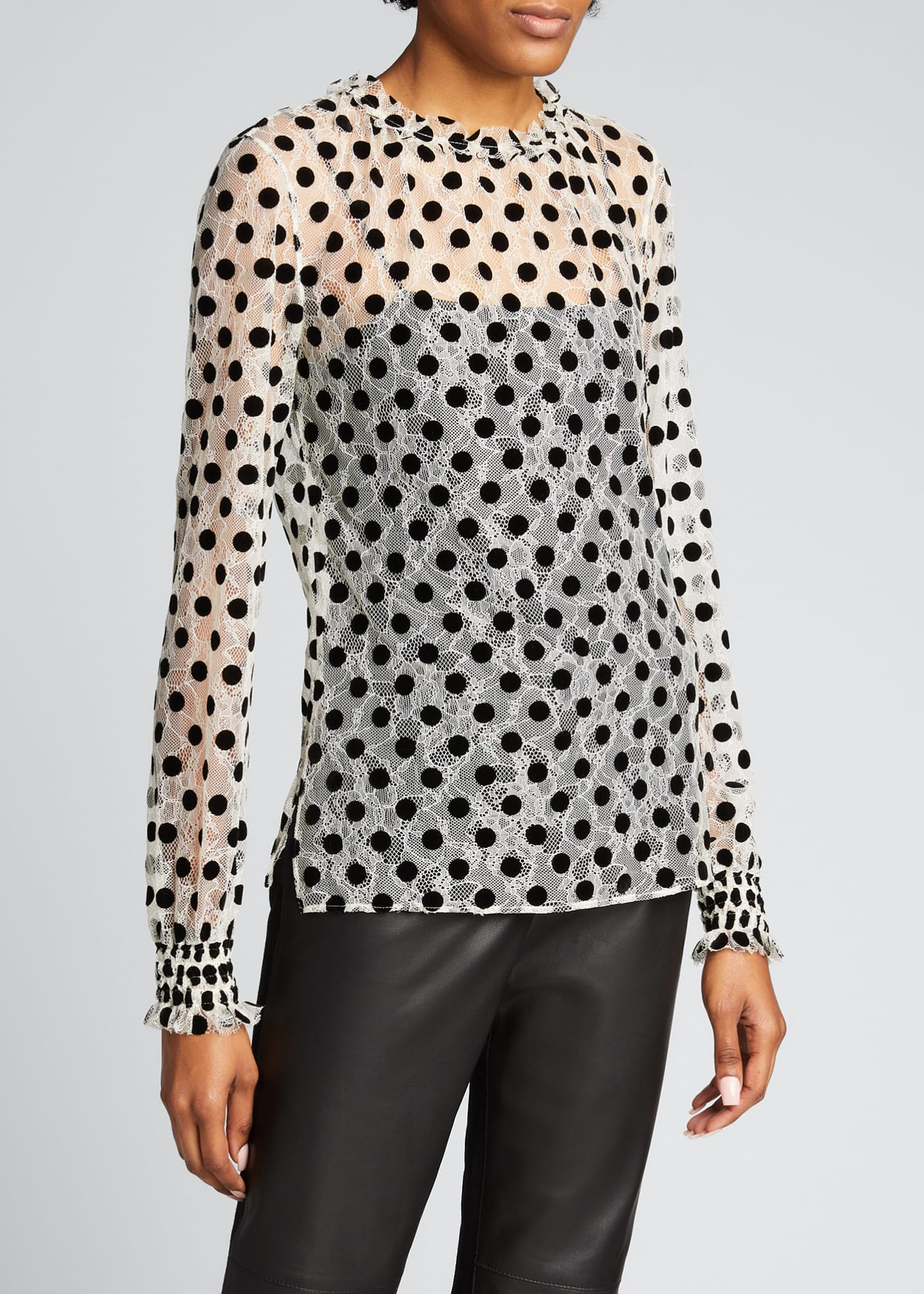 Image 3 of 5: Ruffle Lace Floral Long-Sleeve Dotted Blouse