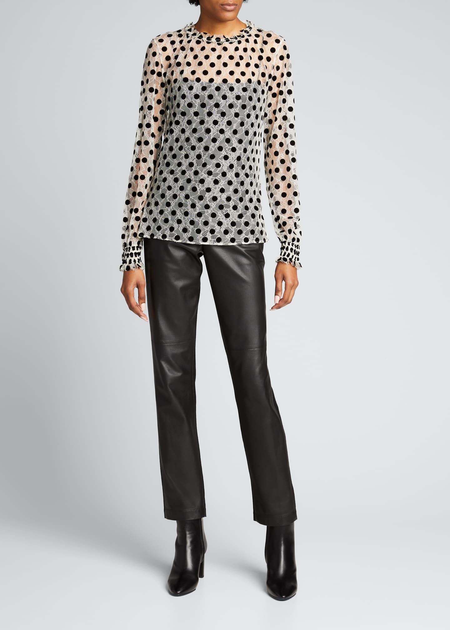 Image 1 of 5: Ruffle Lace Floral Long-Sleeve Dotted Blouse