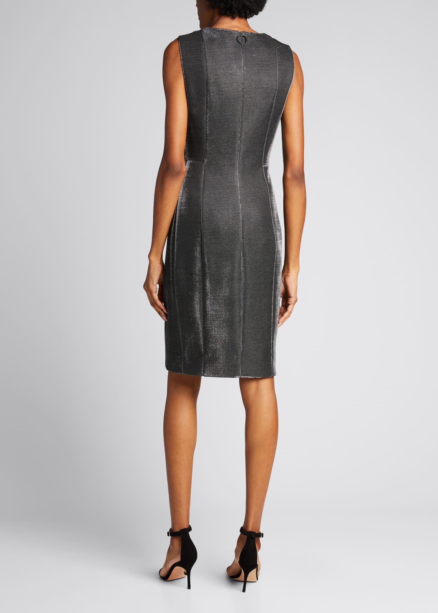 Image 2 of 5: Sleeveless V-Neck Metallic Cocktail Dress